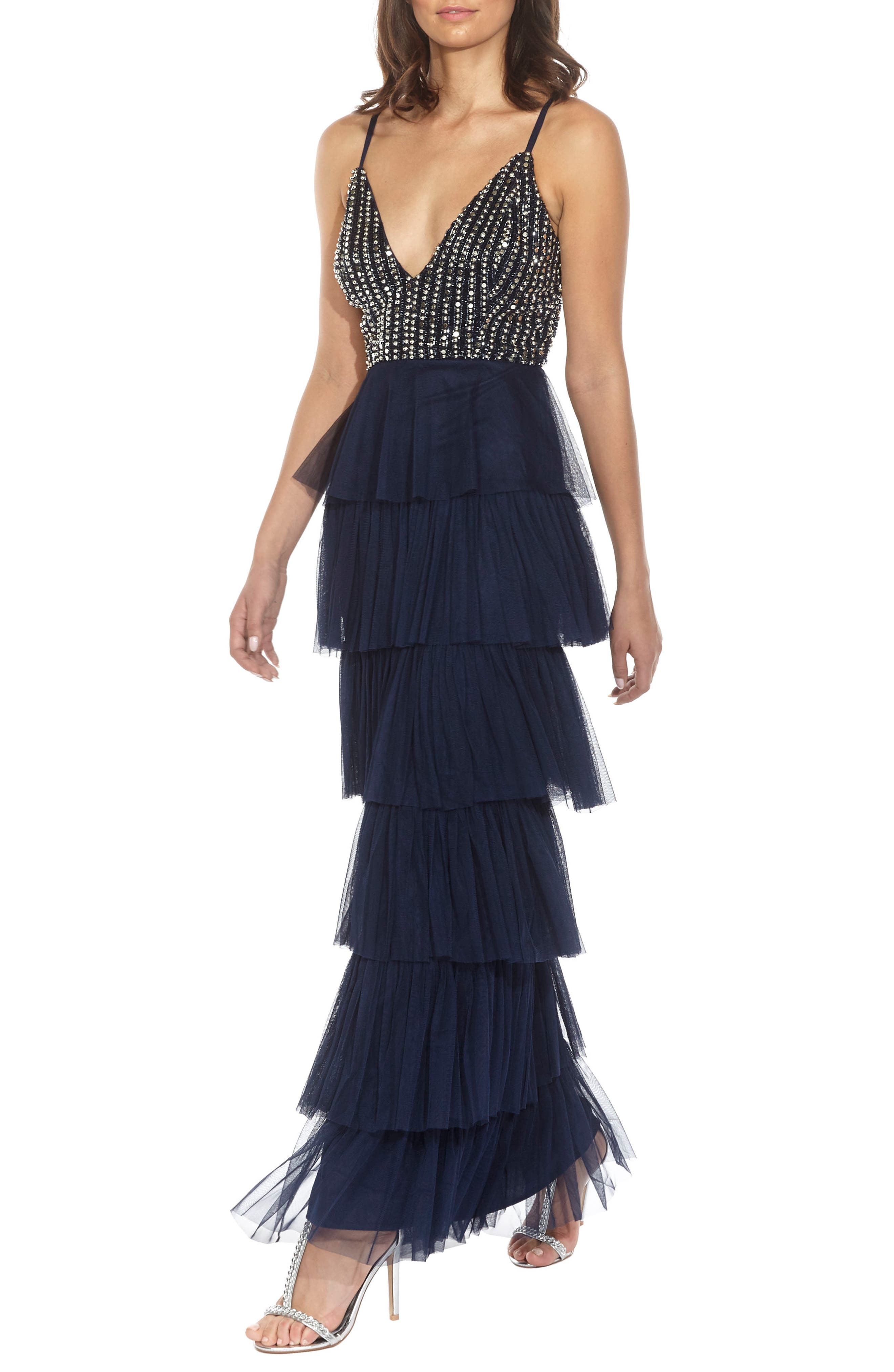 Tiered Skirt Gown,                             Alternate thumbnail 2, color,                             Navy