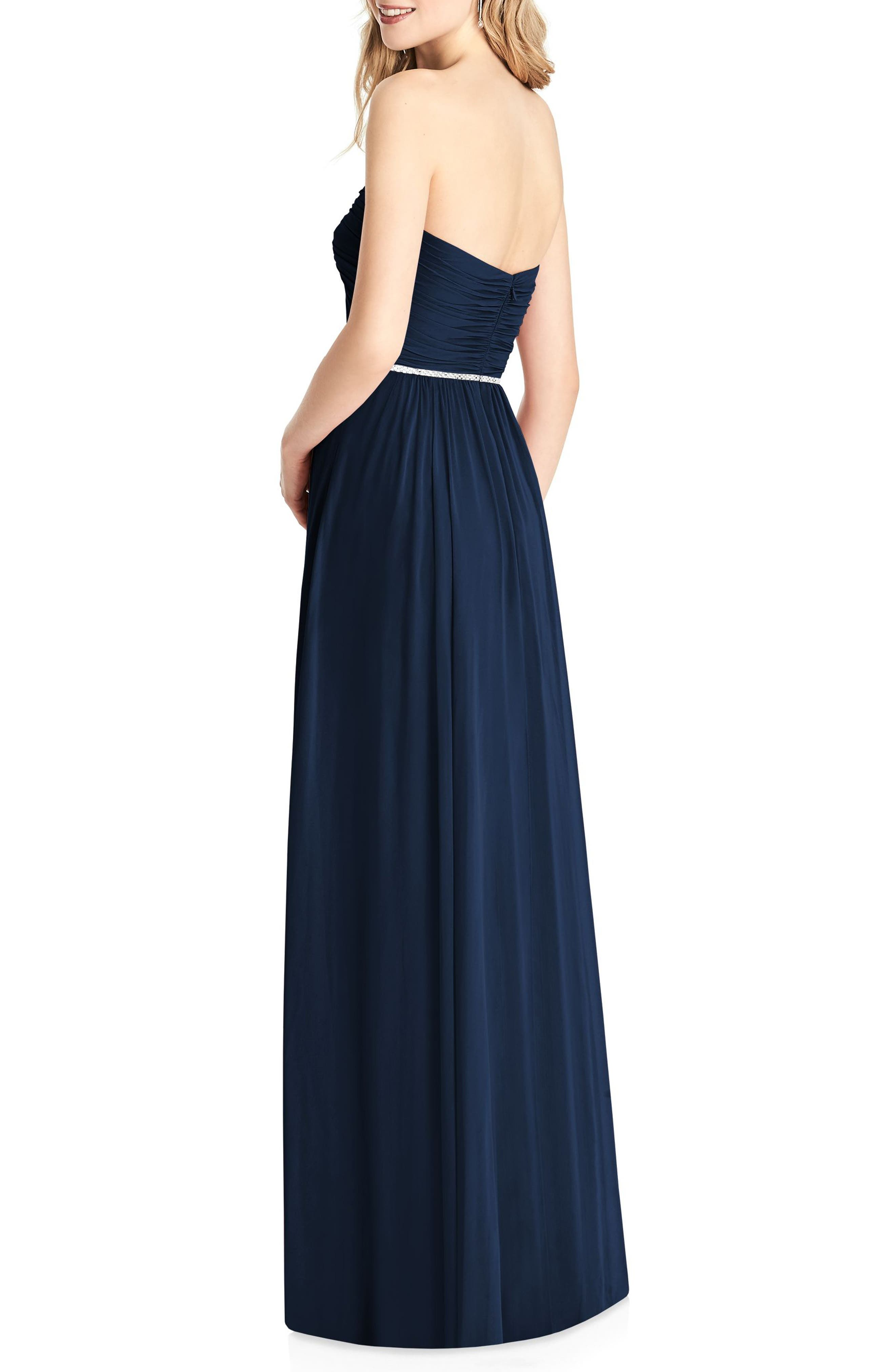 Strapless Chiffon Gown,                             Alternate thumbnail 2, color,                             Midnight