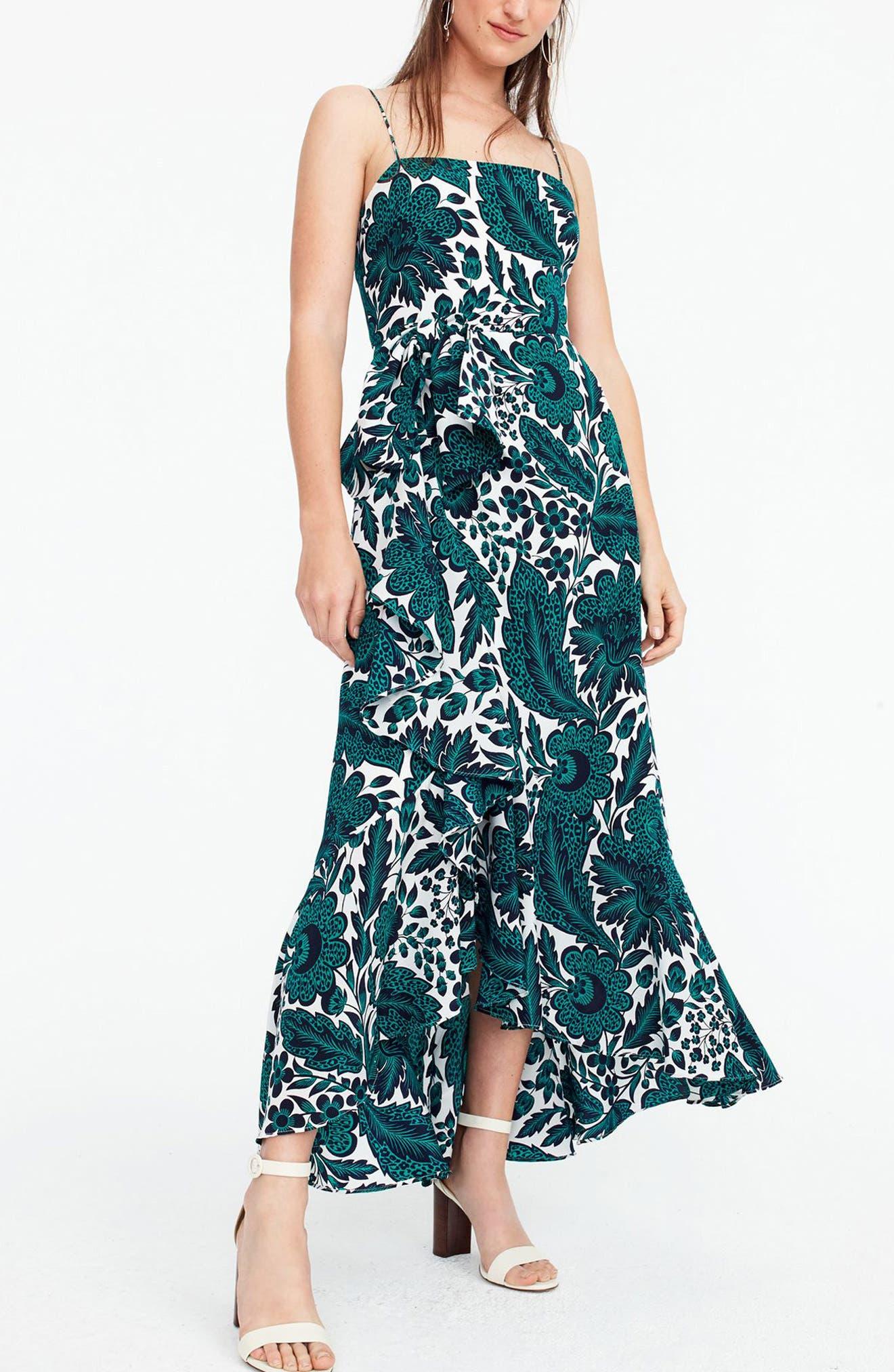 Ruffle High/Low Silk Dress,                             Alternate thumbnail 2, color,                             Navy Green