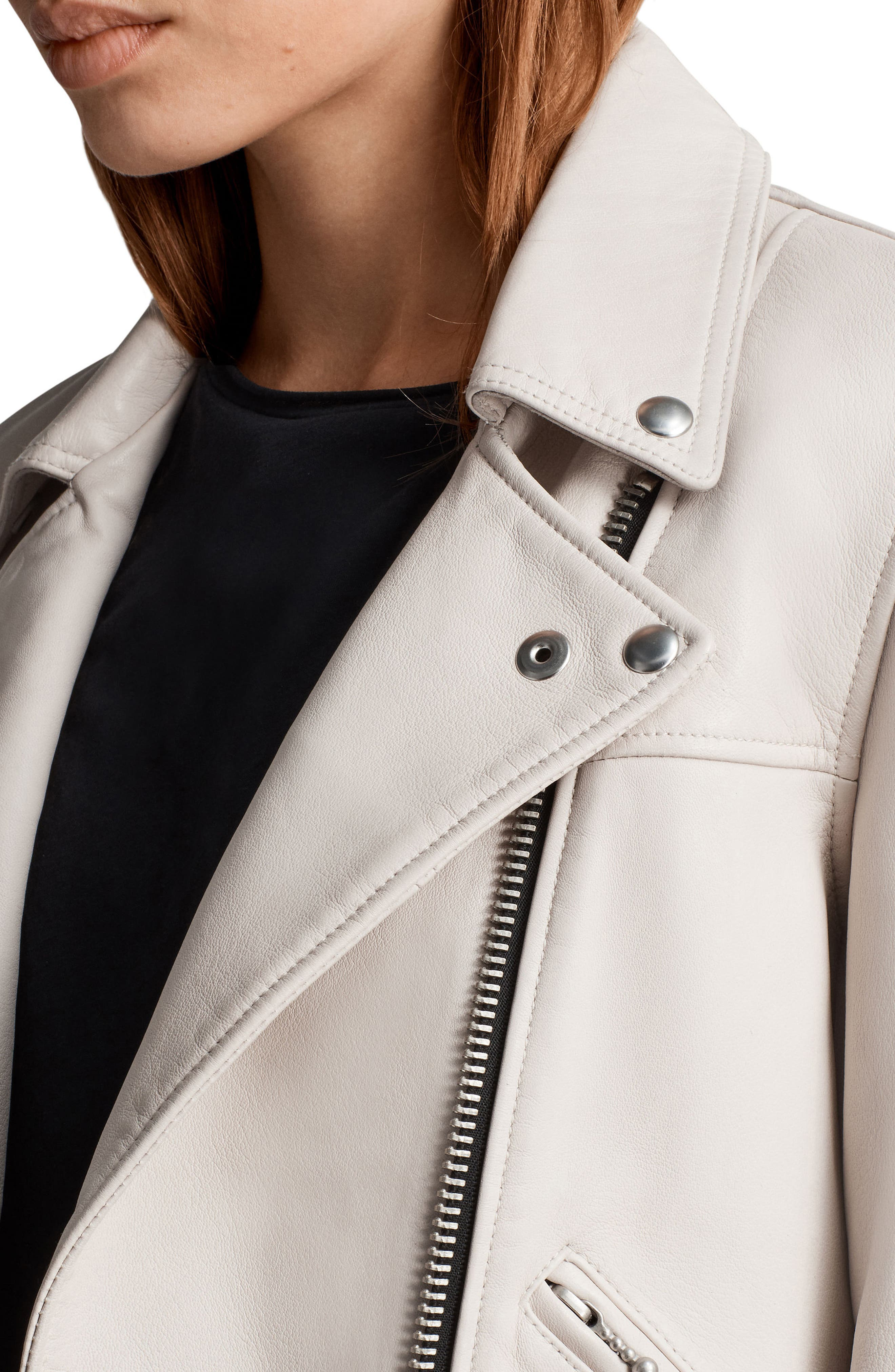 Prescott Leather Biker Jacket,                             Alternate thumbnail 4, color,                             Aries White