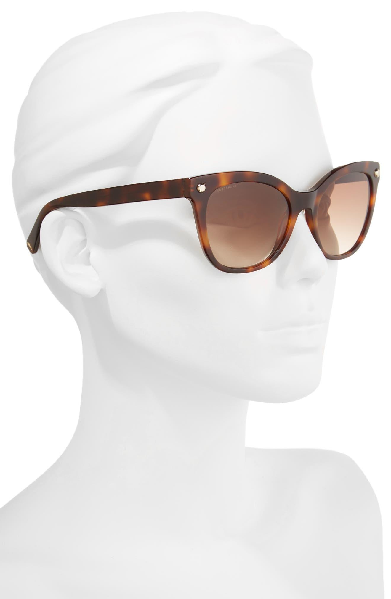 55mm Cat Eye Sunglasses,                             Alternate thumbnail 2, color,                             Blonde Havana