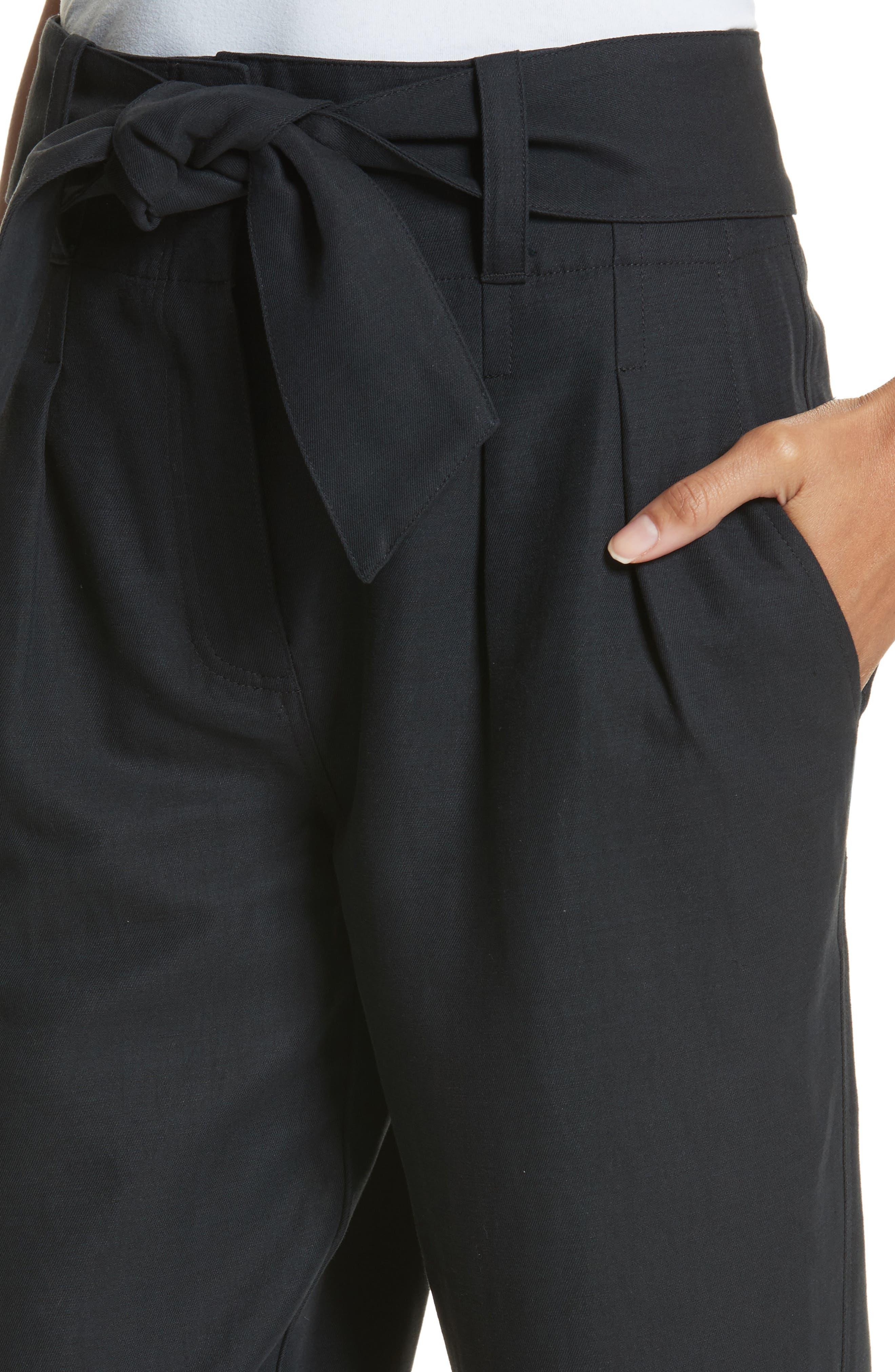 Jun Cotton & Linen Ankle Pants,                             Alternate thumbnail 4, color,                             Caviar