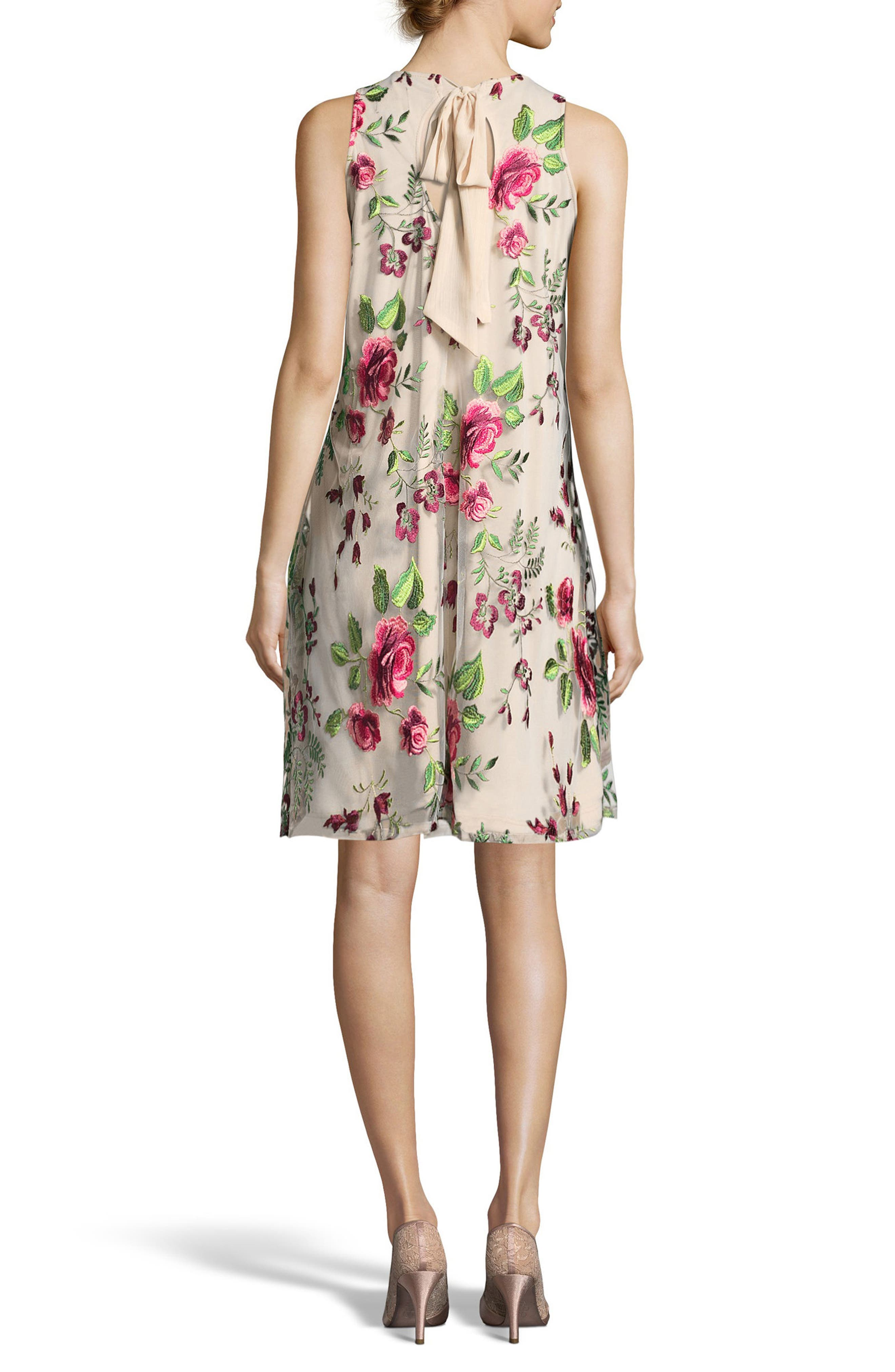 Alternate Image 2  - ECI Floral Embroidered A-Line Dress