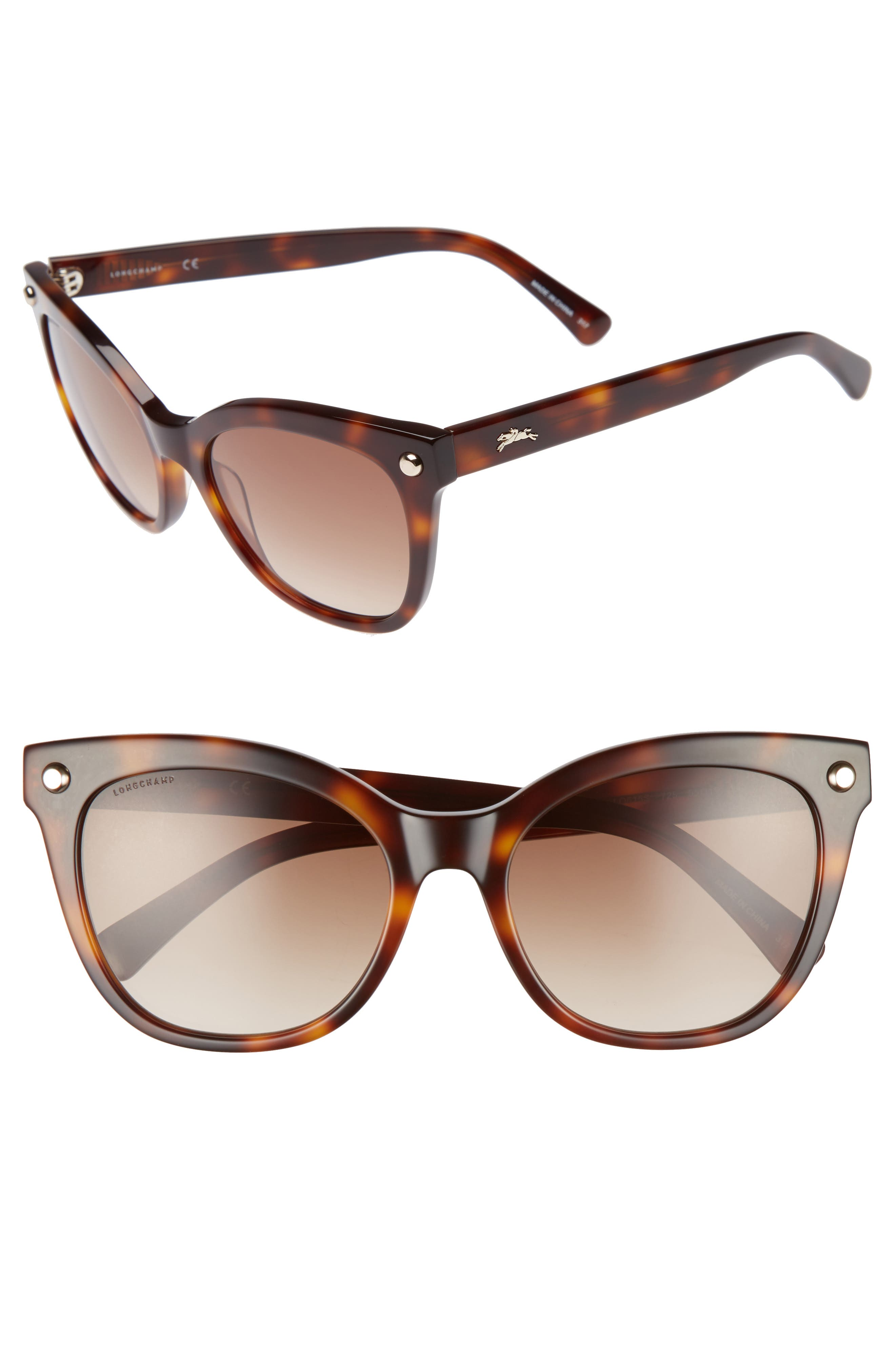 55mm Cat Eye Sunglasses,                             Main thumbnail 1, color,                             Blonde Havana