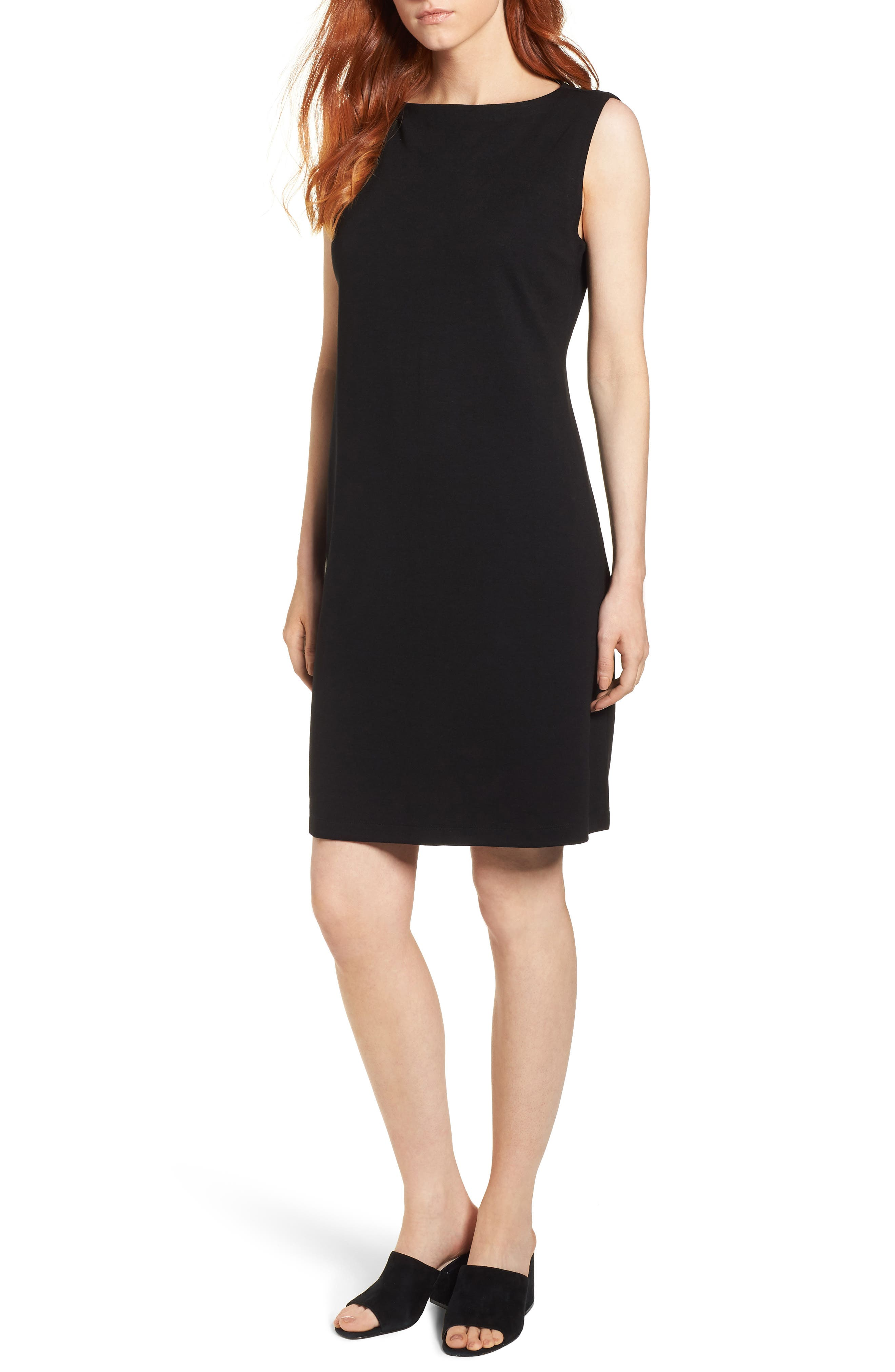 Tencel<sup>®</sup> Lyocell Blend Shift Dress,                             Main thumbnail 1, color,                             Black