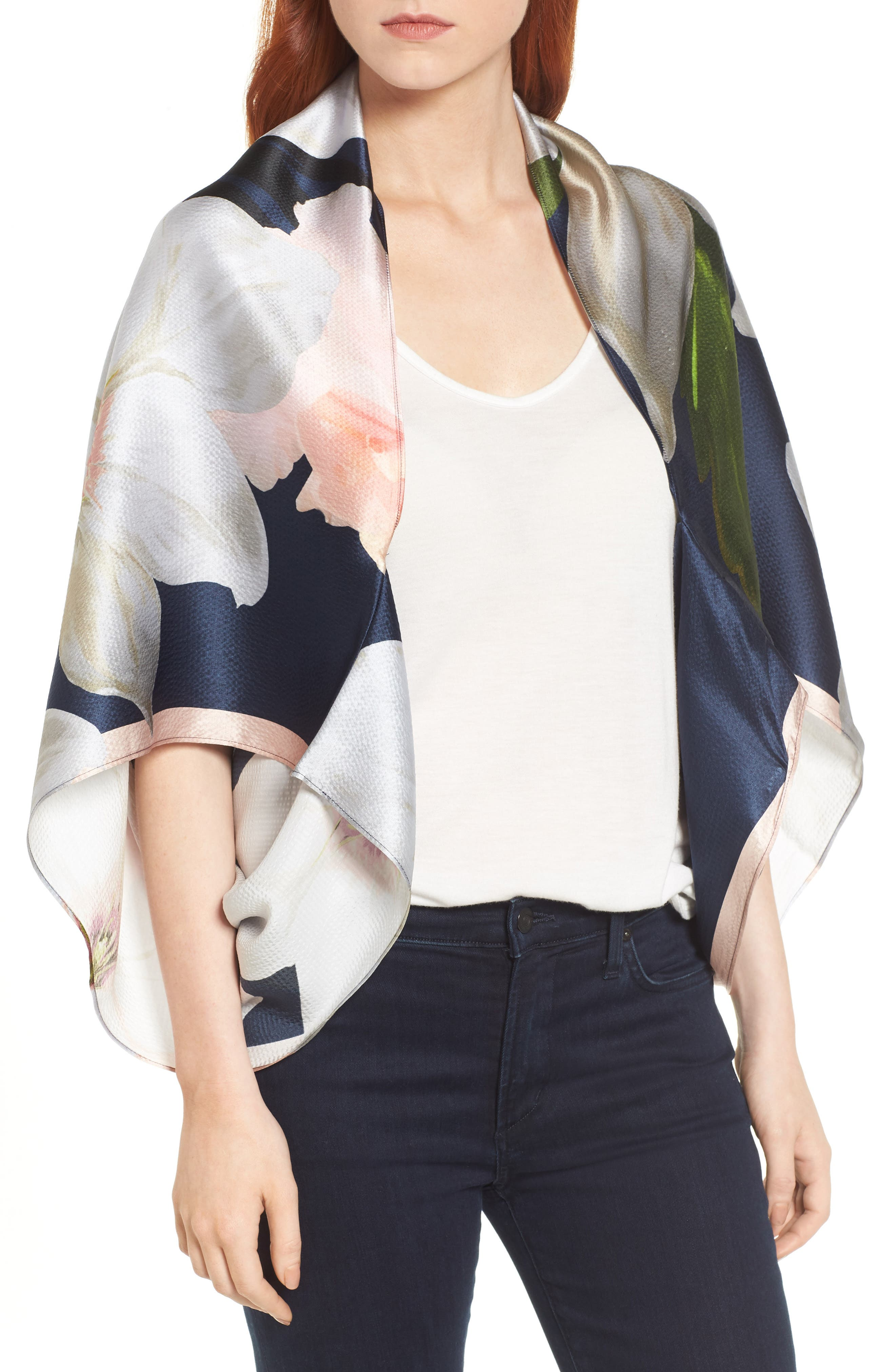 Ted Baker London Chatsworth Bloom Silk Cape Scarf