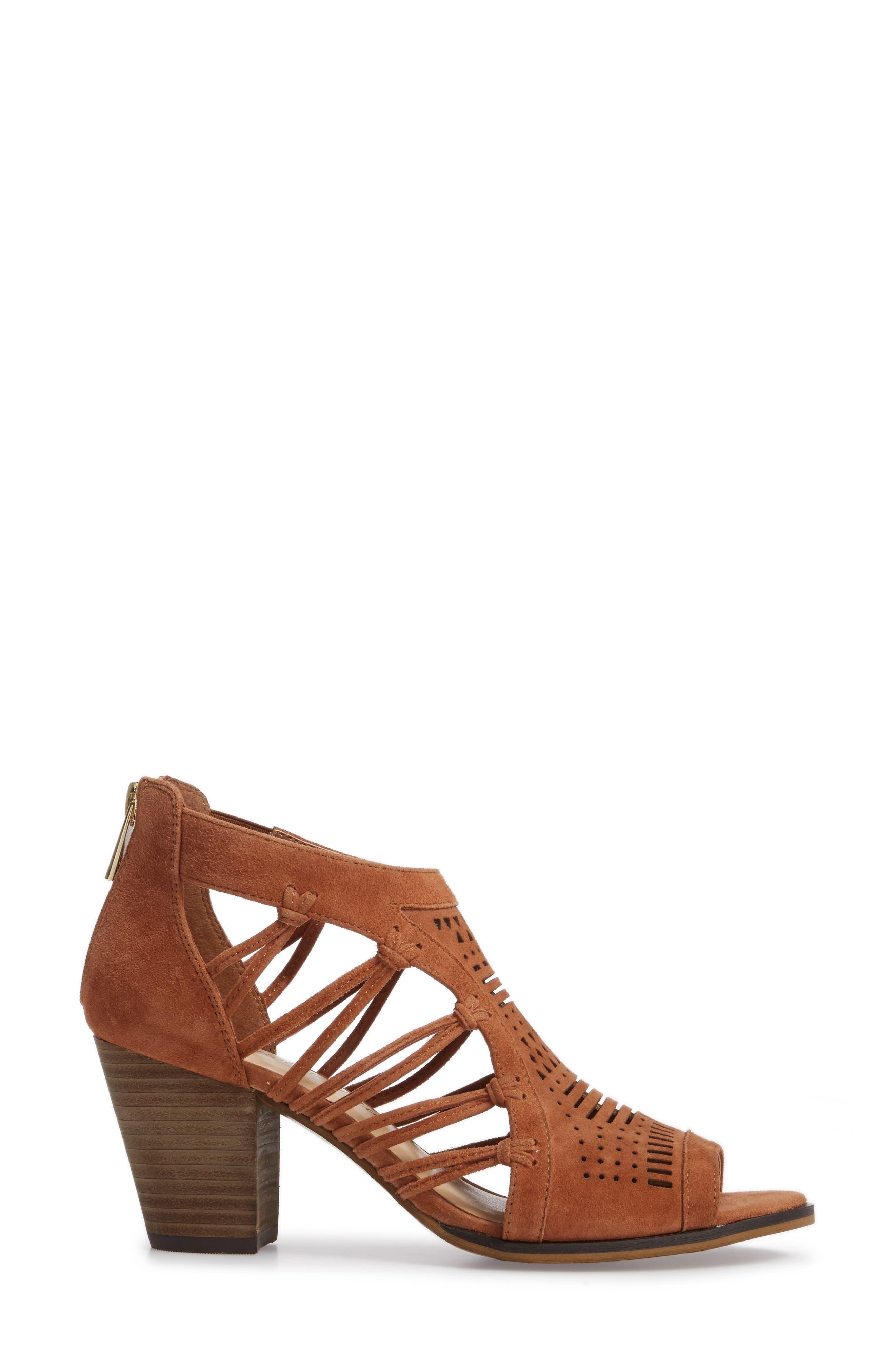 Kortez Block Heel Sandal,                             Alternate thumbnail 3, color,                             Dark Tan Suede
