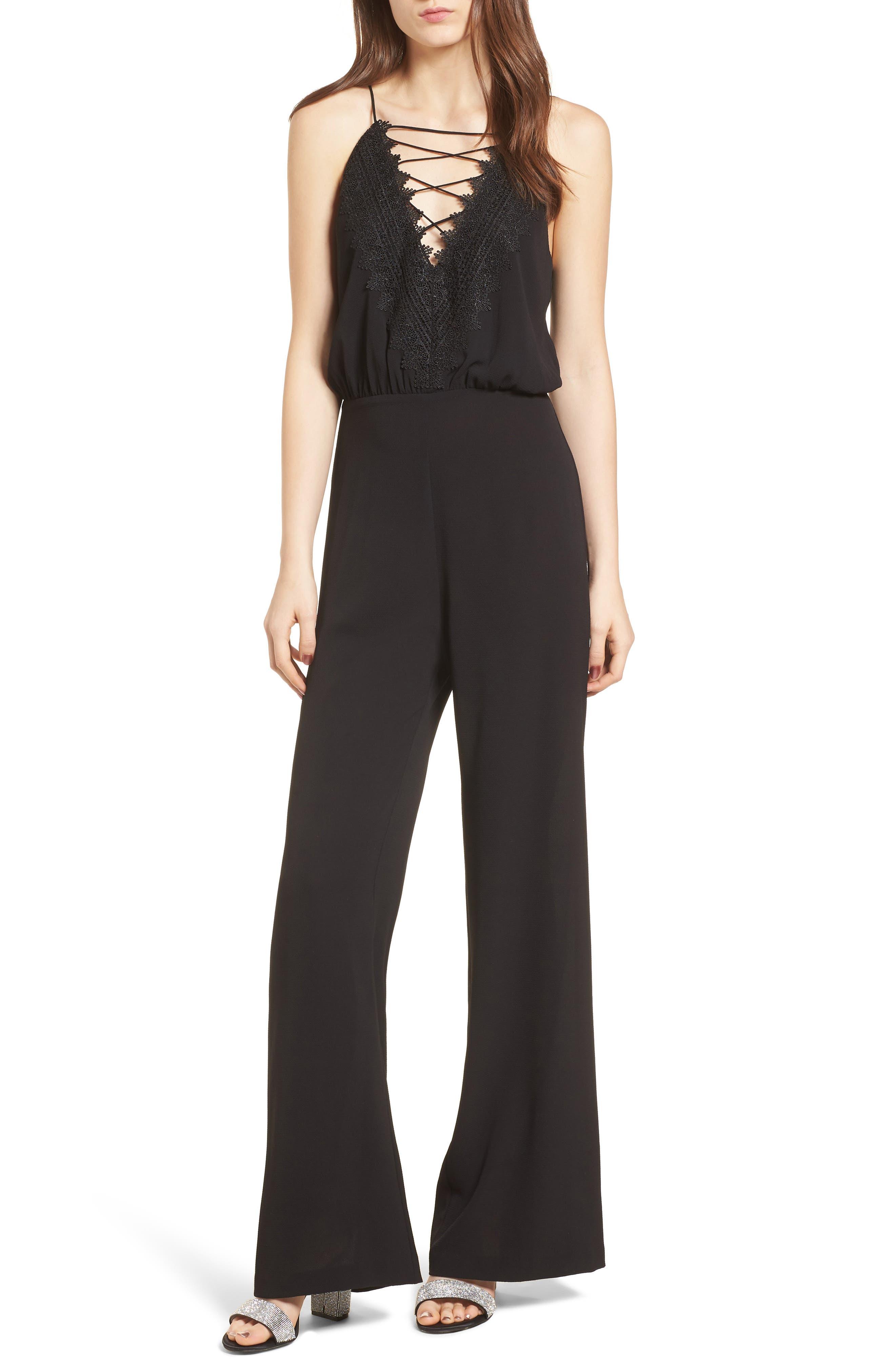 Posie Lace-Up Jumpsuit,                         Main,                         color, Black