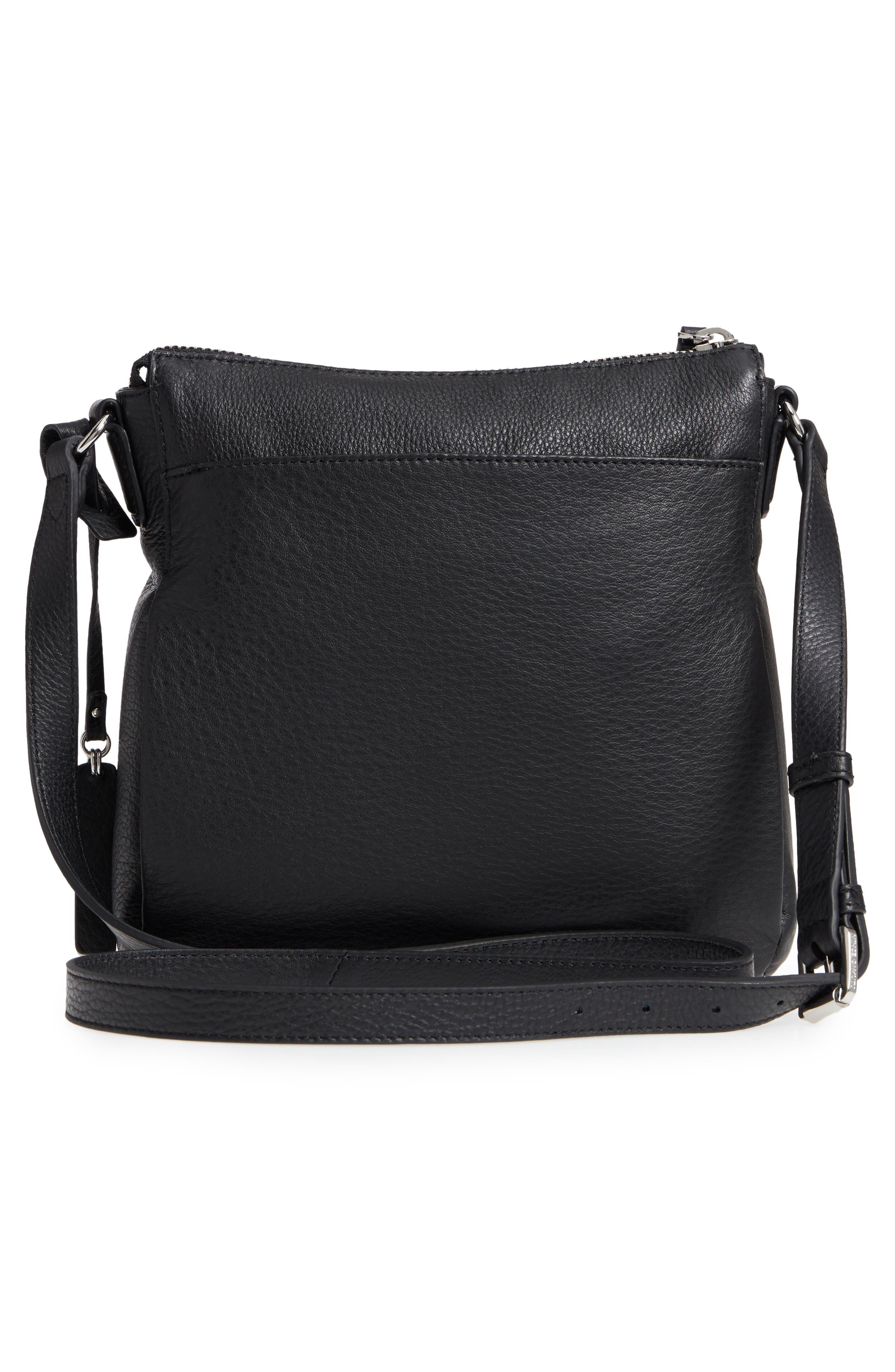 Staja Leather Crossbody Bag,                             Alternate thumbnail 4, color,                             Nero