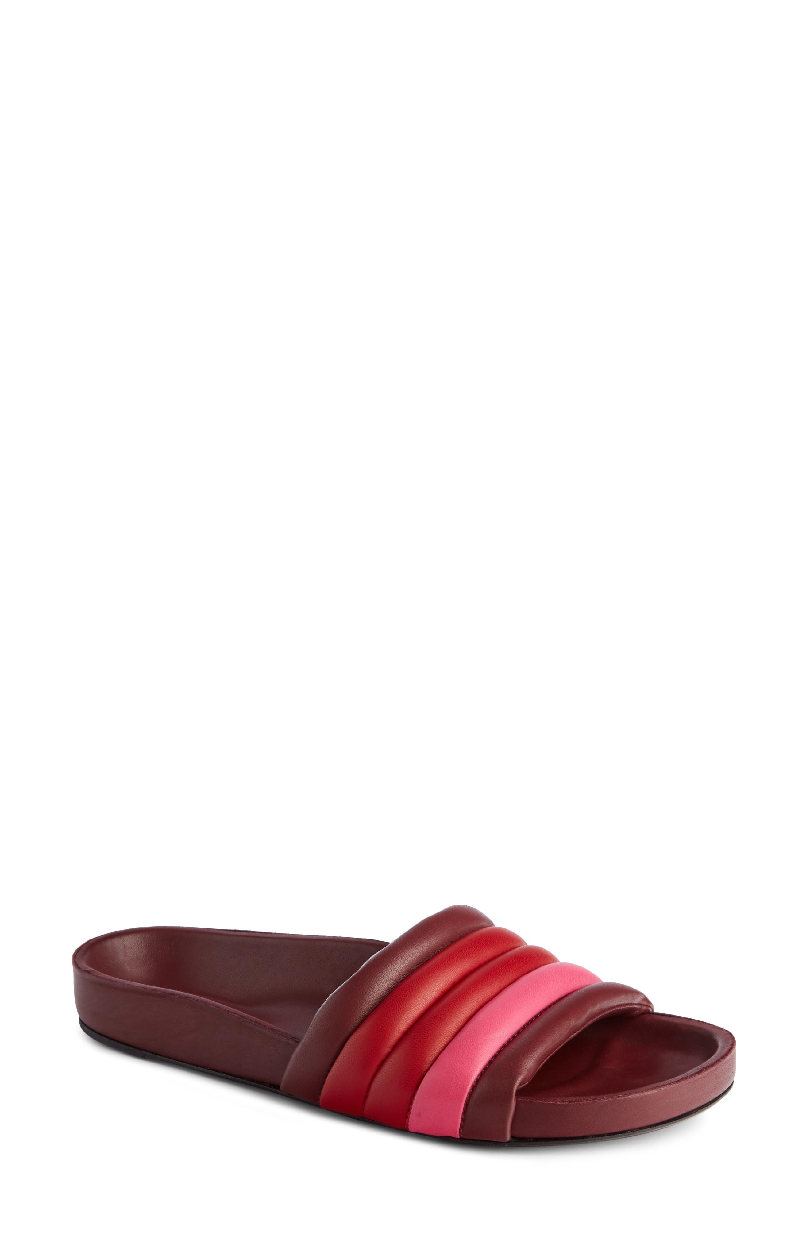 Hellea Slide Sandal,                             Main thumbnail 1, color,                             Burgundy/ Red/ Pink
