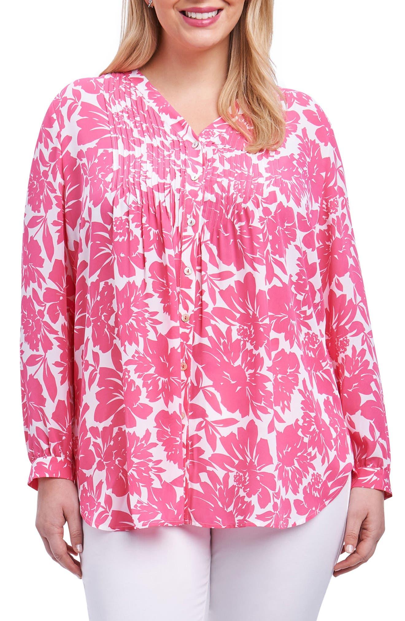 Foxcroft Mindy Sweet Rose Top (Plus Size)