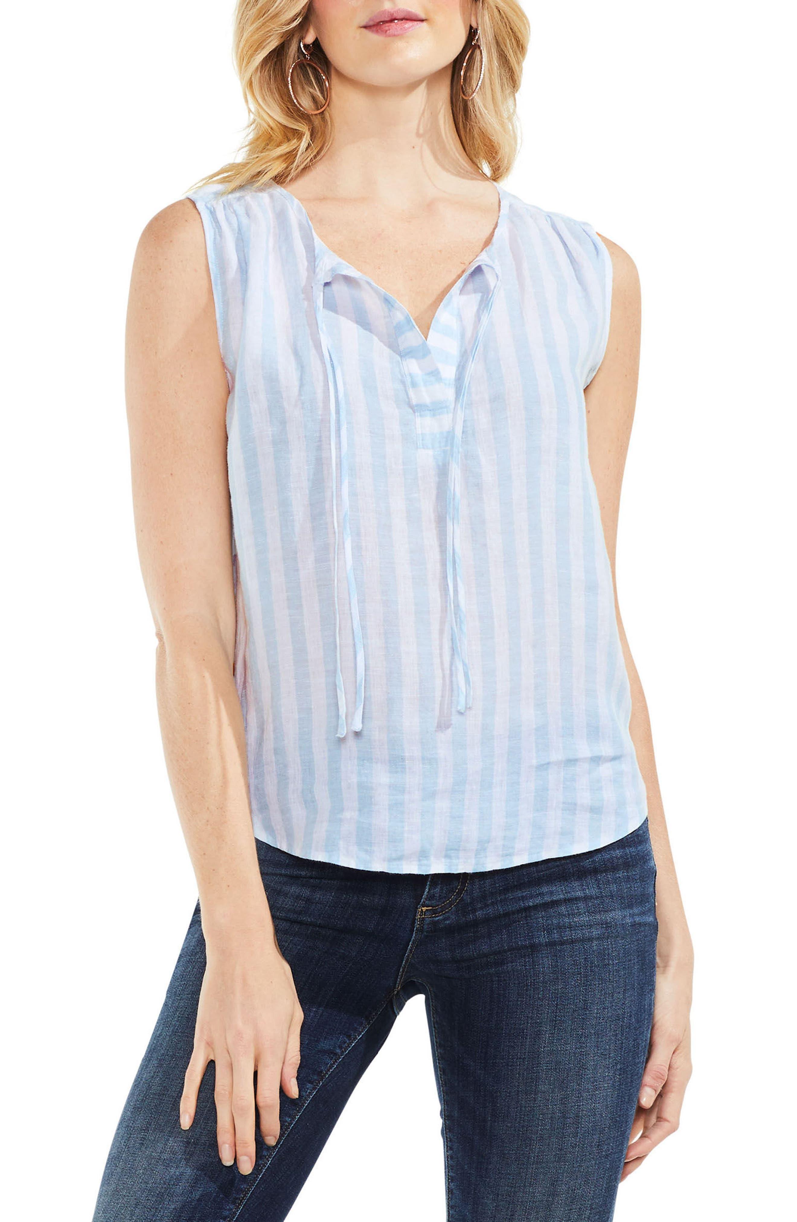 Resort Stripe Tie Neck Blouse,                             Main thumbnail 1, color,                             Sea Salt