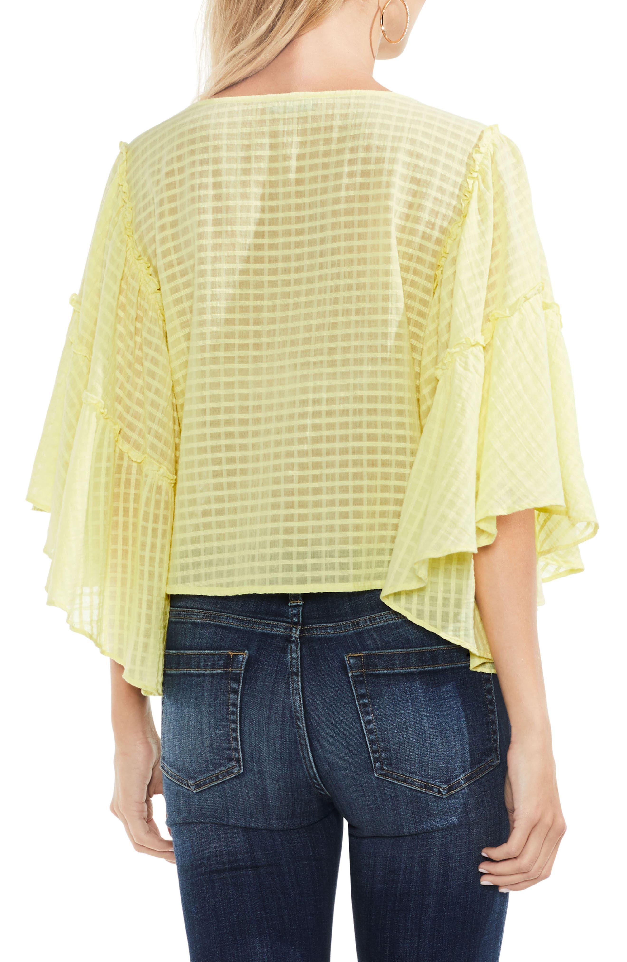 Grid Drop Shoulder Ruffle Sleeve Blouse,                             Alternate thumbnail 2, color,                             Lemon Cream