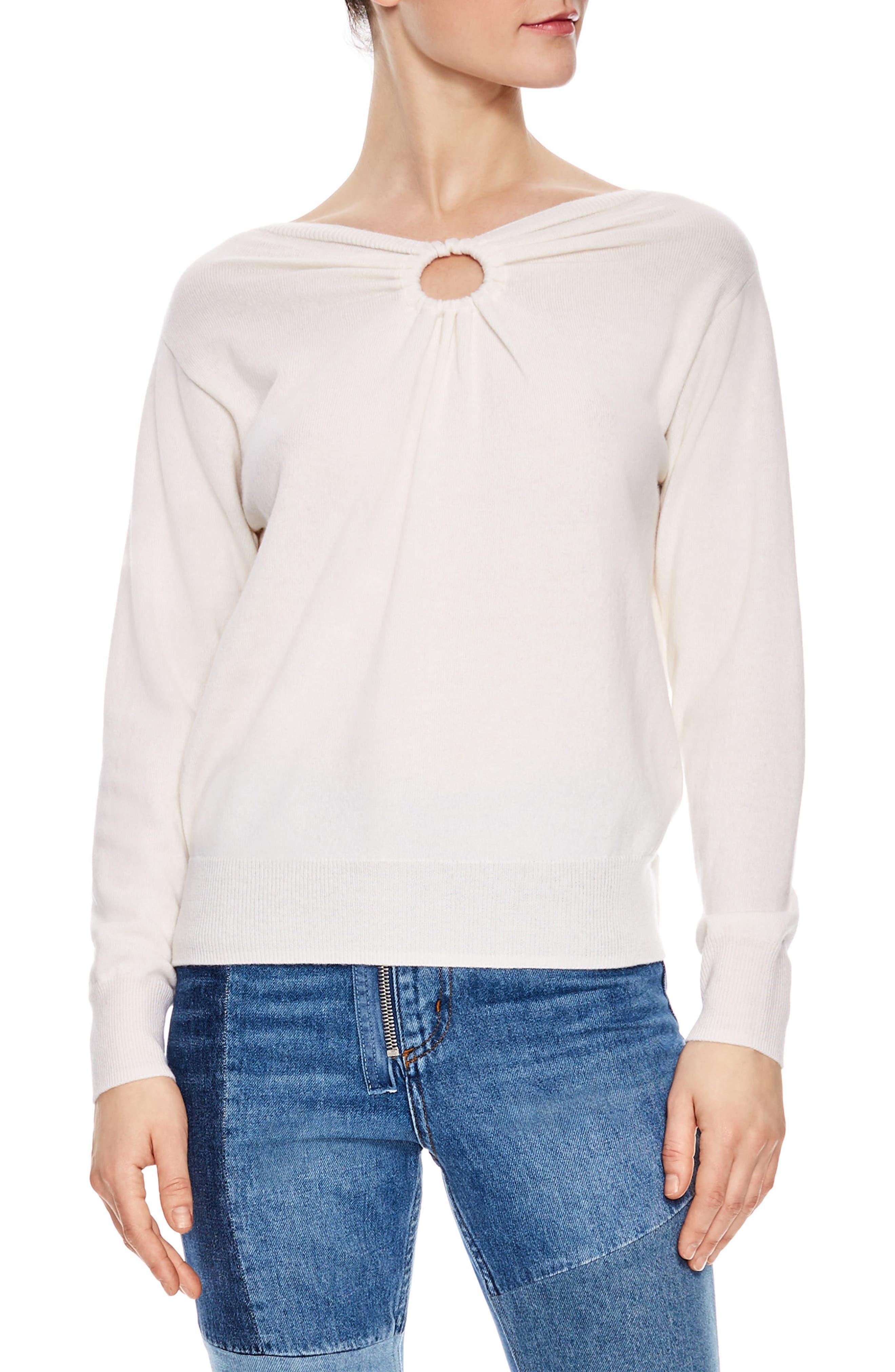 Keyhole Wool & Cashmere Sweater,                             Main thumbnail 1, color,                             Ecru