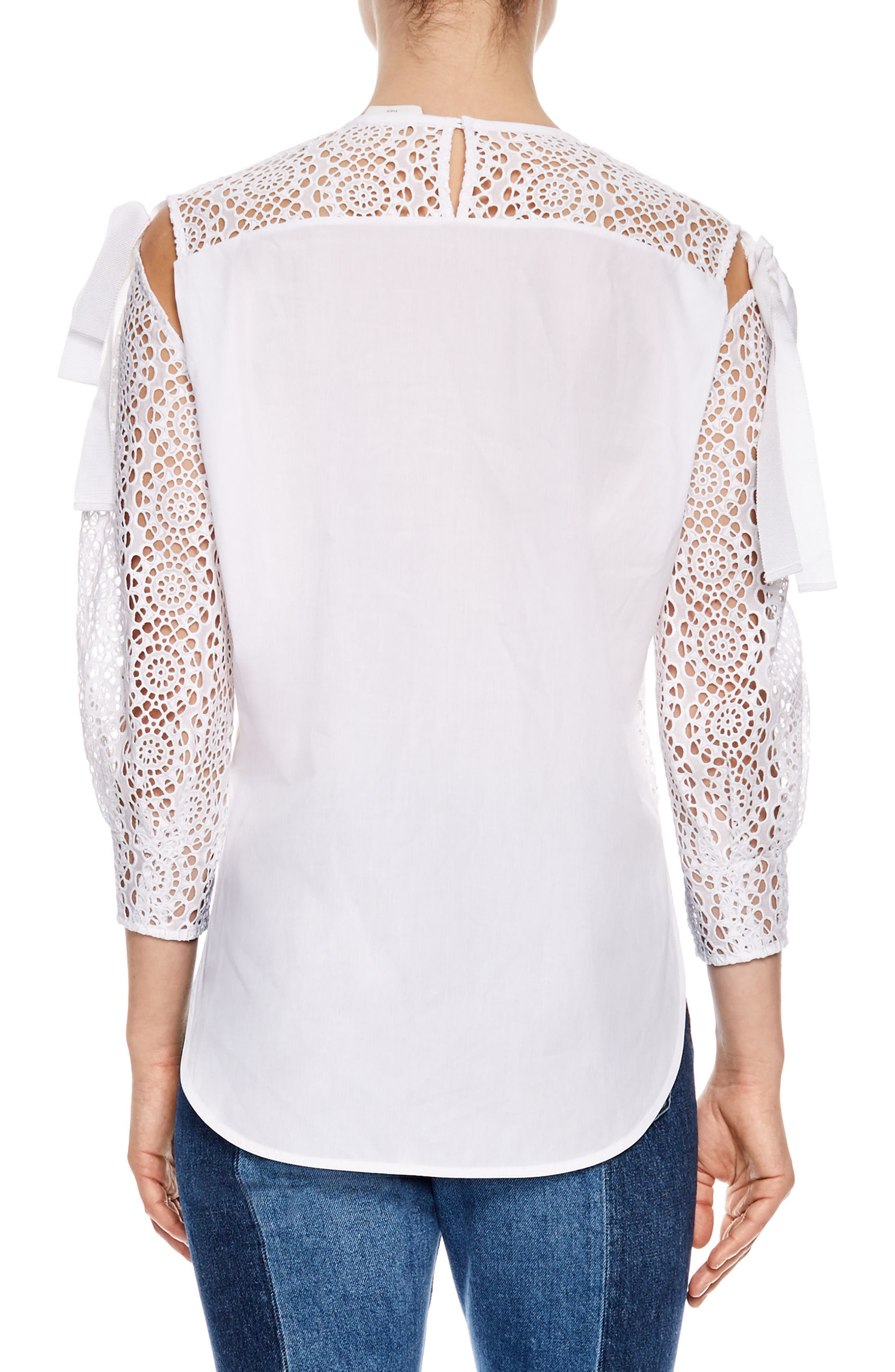 Blanc Sheer Lace Top,                             Alternate thumbnail 2, color,                             White