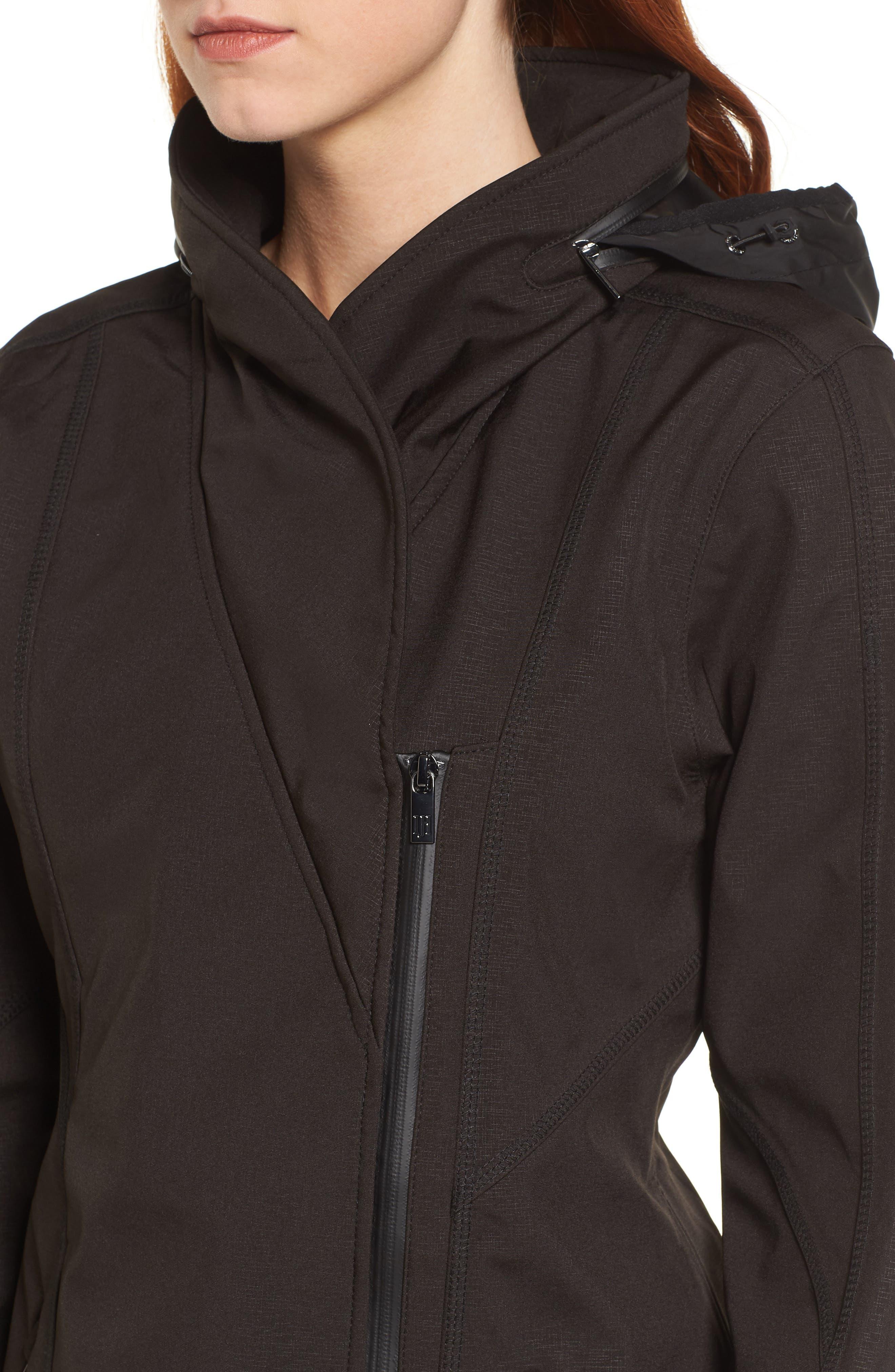 Hornbaek Soft Shell Raincoat,                             Alternate thumbnail 4, color,                             Black
