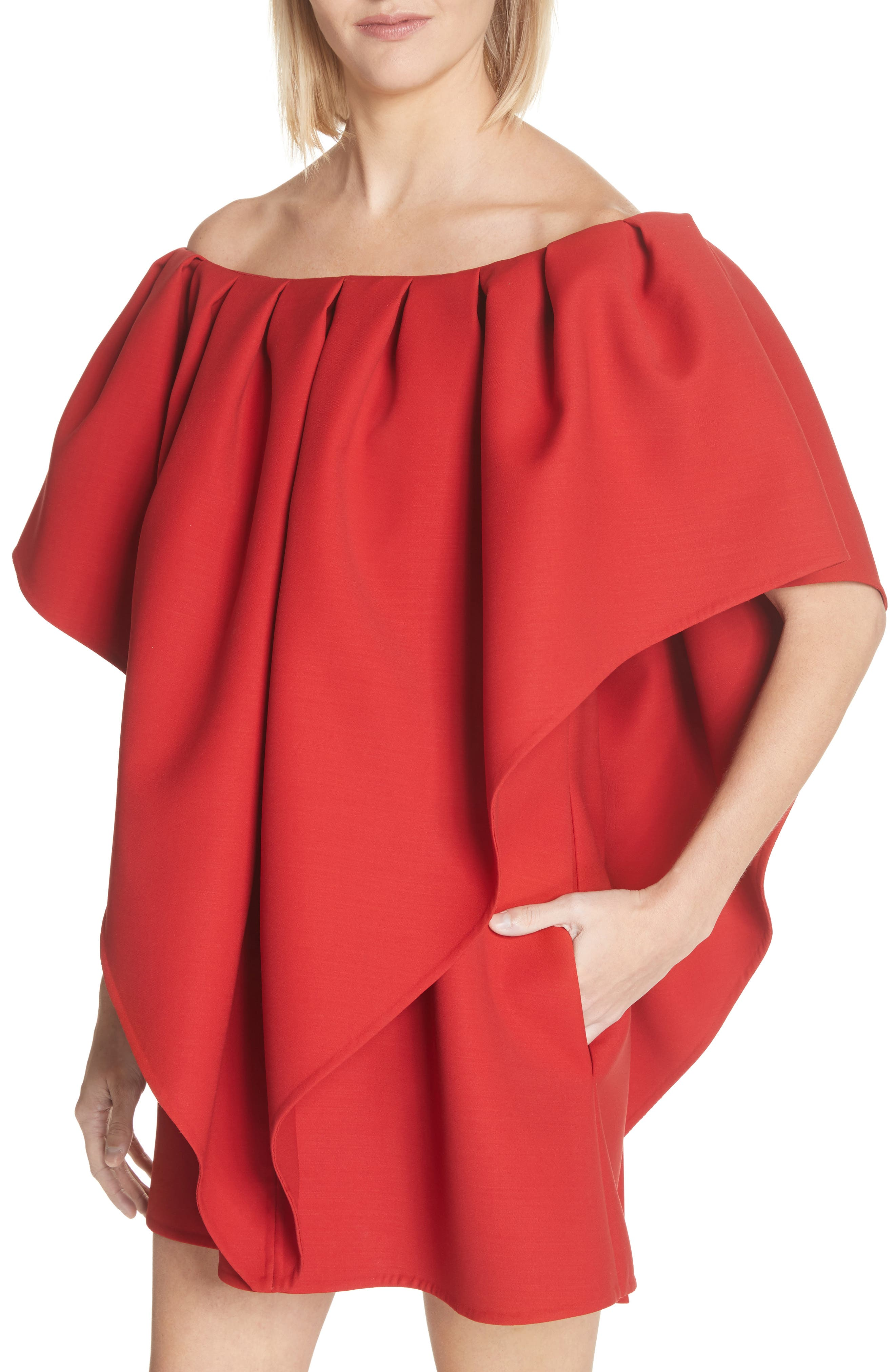 Very Valentino Off the Shoulder Dress,                             Alternate thumbnail 4, color,                             Red