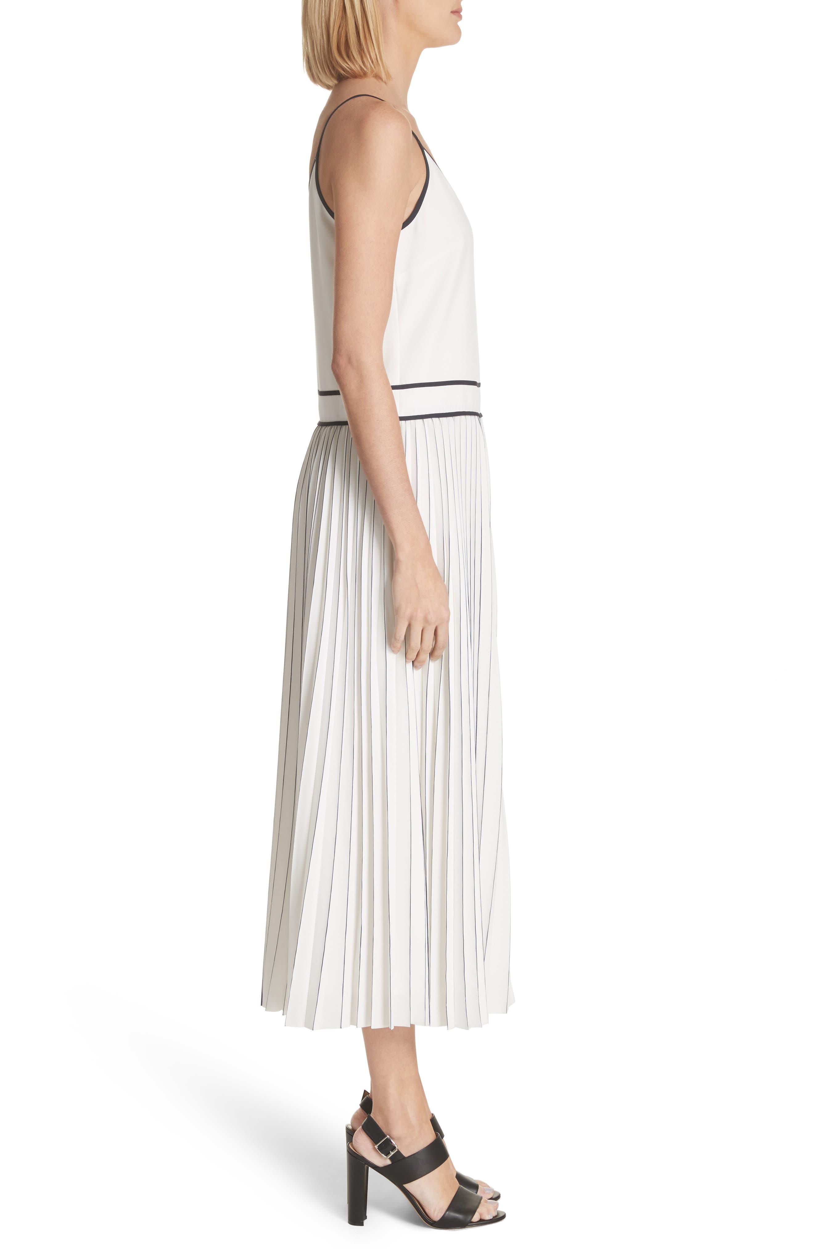 Silk Pleated Skirt Midi Dress,                             Alternate thumbnail 3, color,                             Cloud Multi