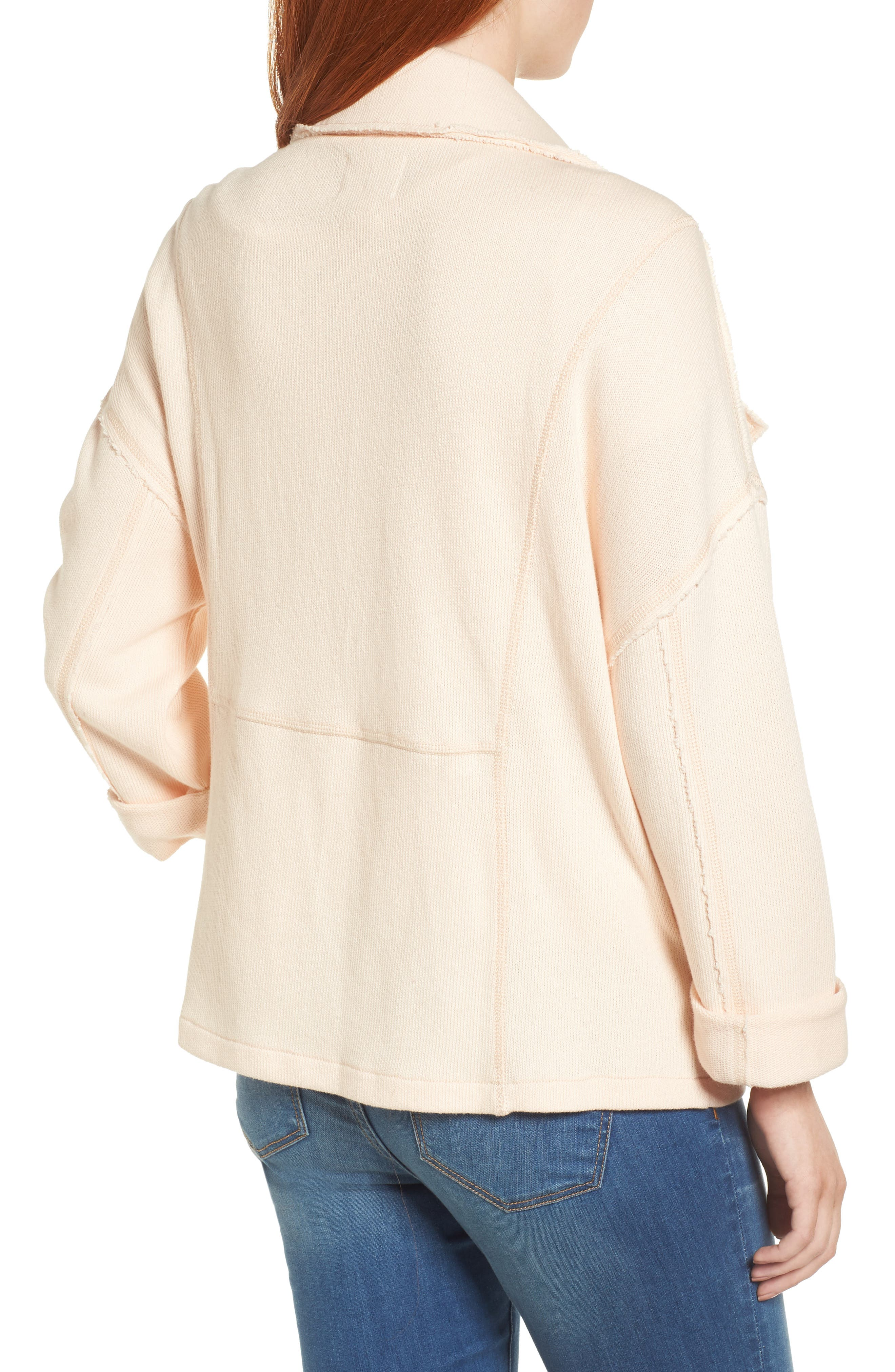 Knit Moto Jacket,                             Alternate thumbnail 2, color,                             Beige Linen