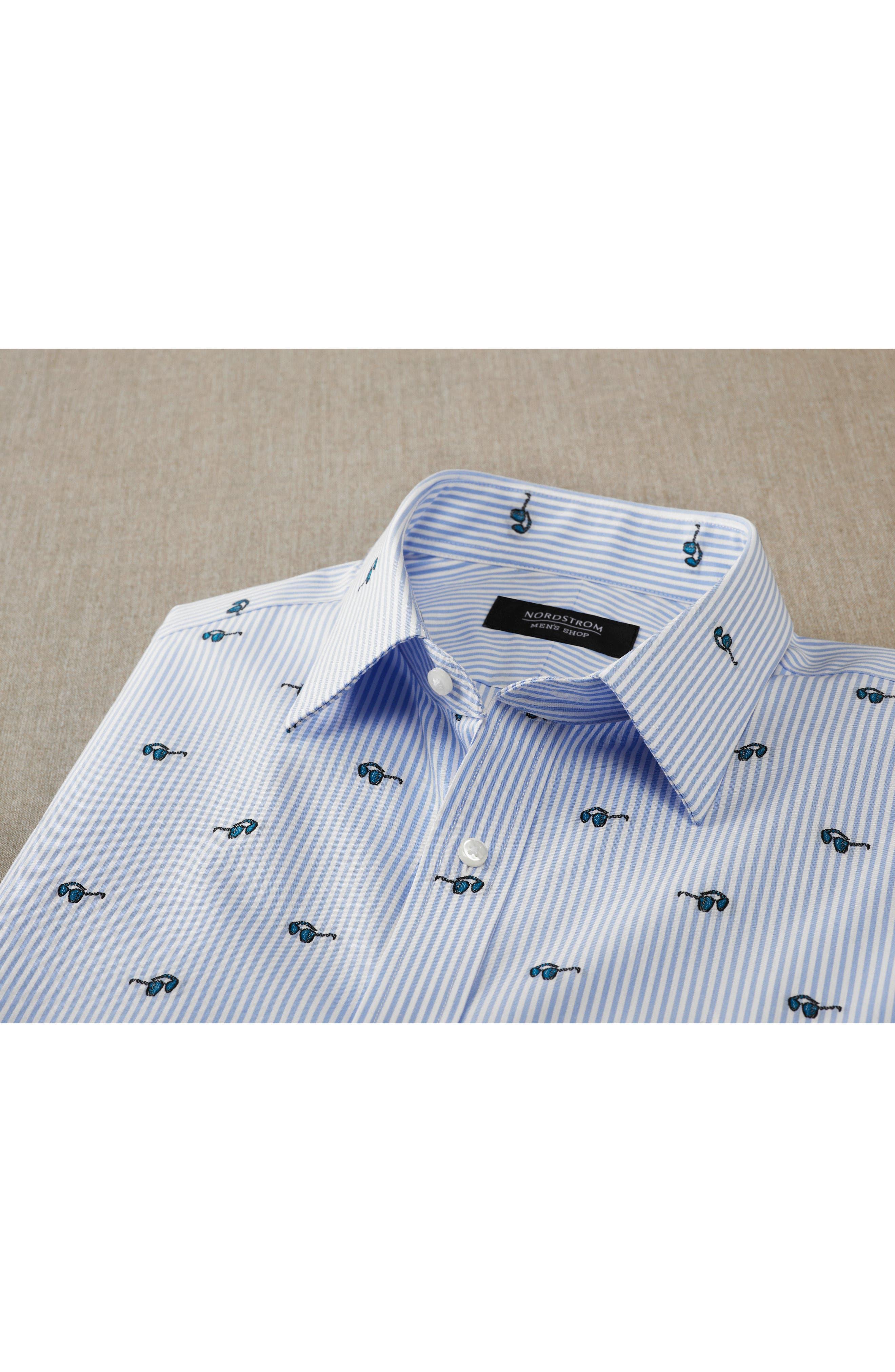 Alternate Image 4  - Nordstrom Men's Shop Trim Fit Sunglasses Print Dress Shirt