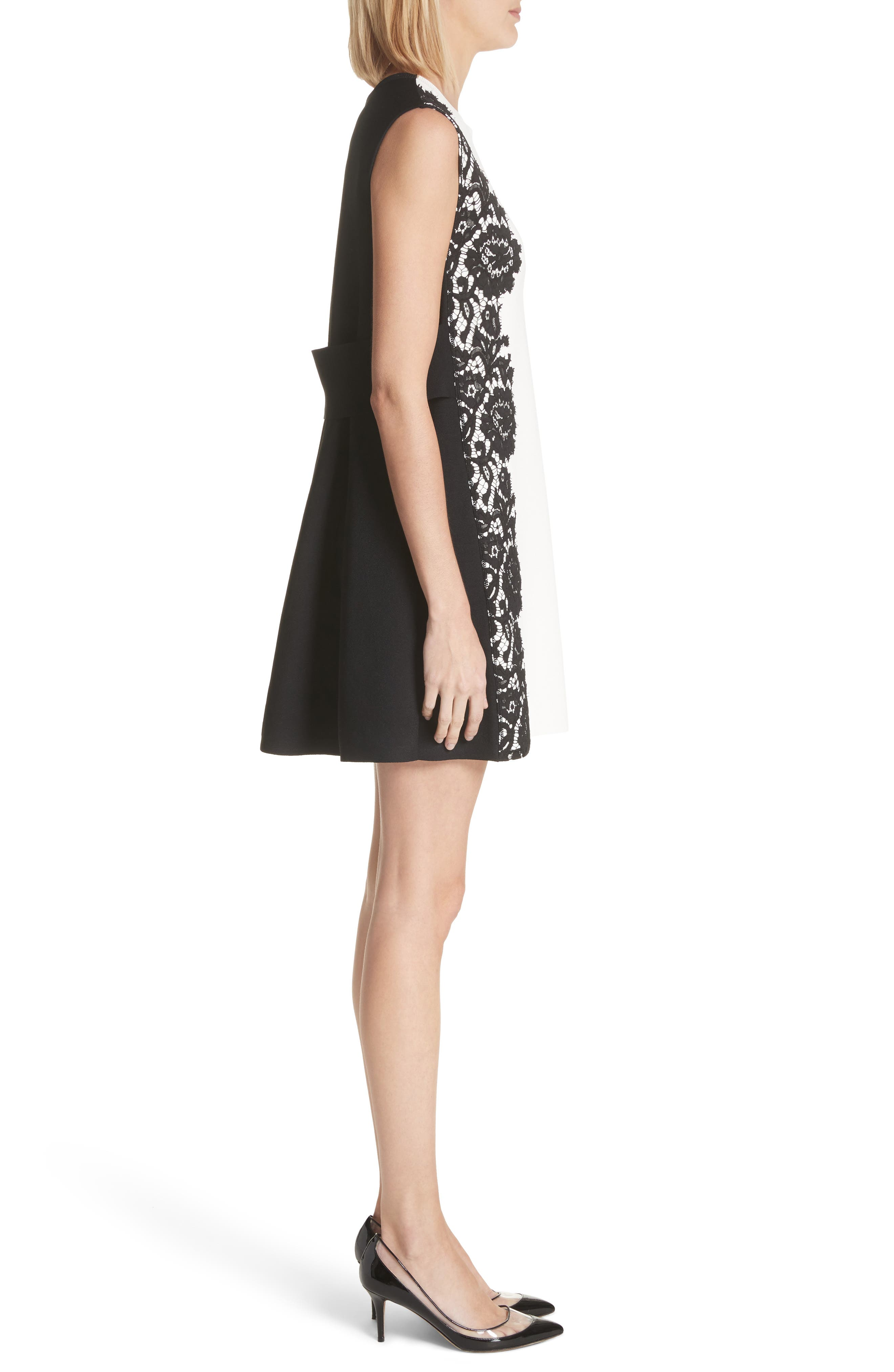 Lace Side Contrast Shift Dress,                             Alternate thumbnail 3, color,                             Ivory/ Black