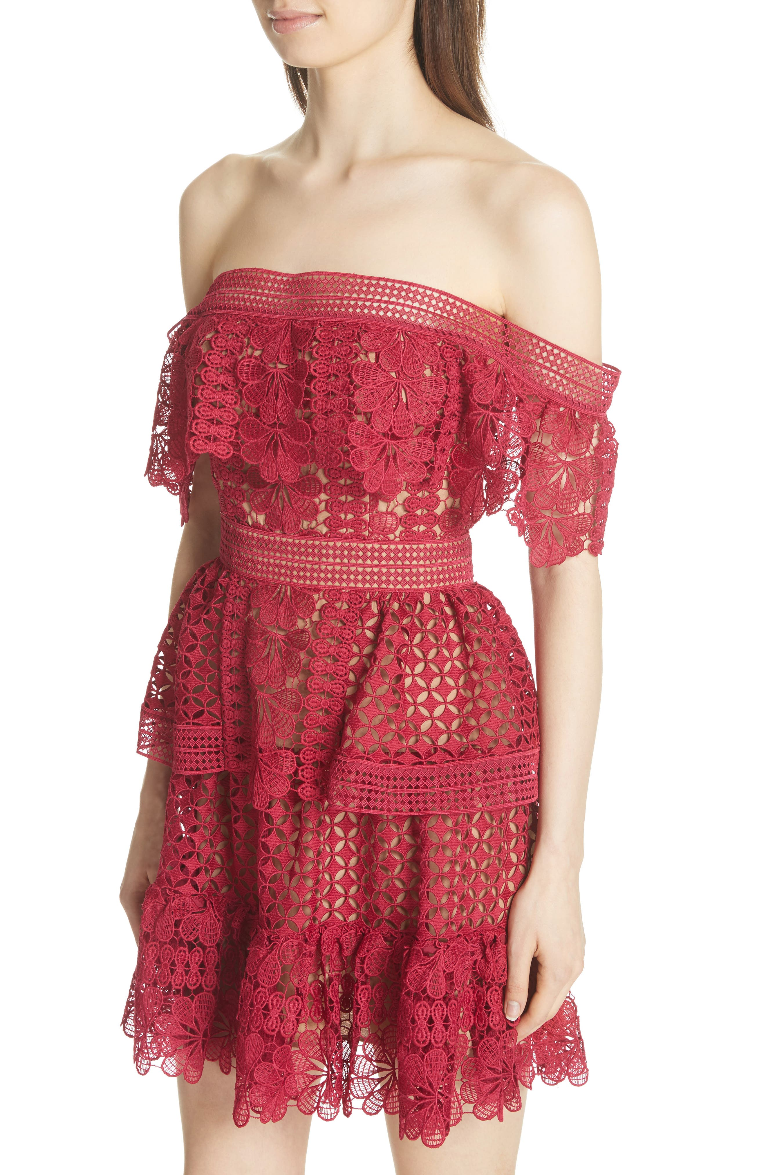 Off the Shoulder Guipure Lace Dress,                             Alternate thumbnail 4, color,                             Red