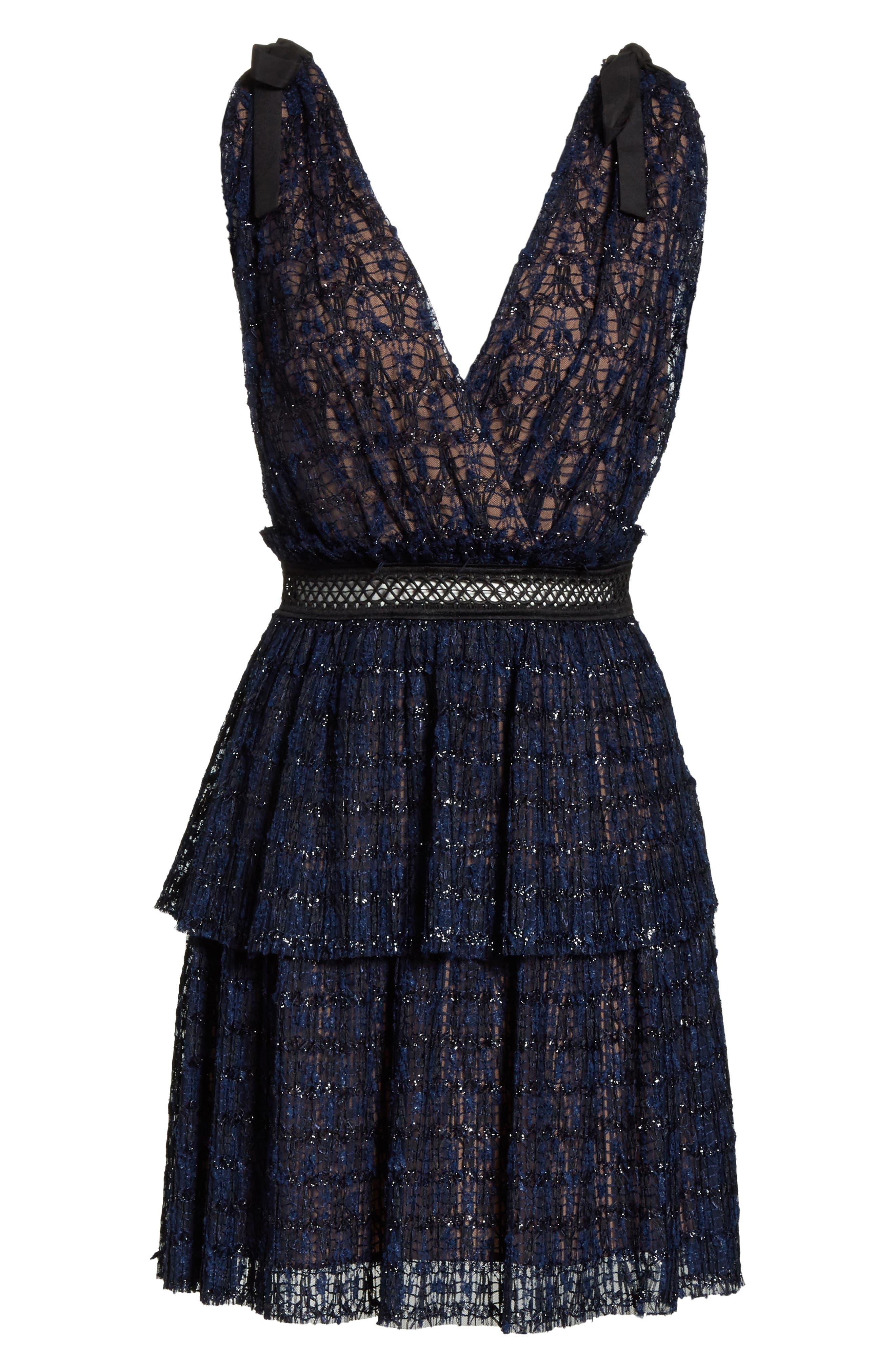 Metallic Stripe Tie Strap Dress,                             Alternate thumbnail 6, color,                             Navy