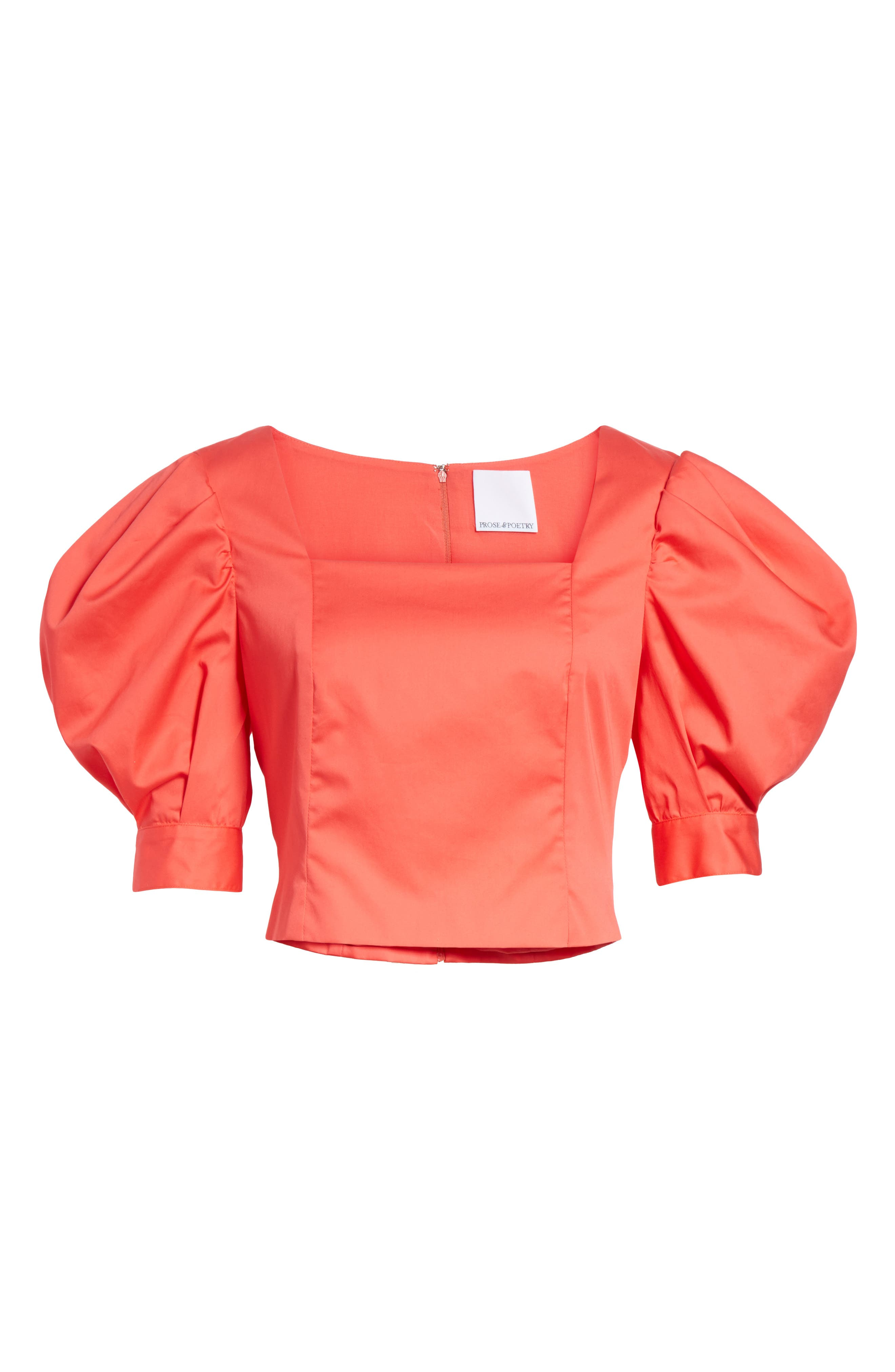 Prose & Poetry Claudia Puff Sleeve Top,                             Alternate thumbnail 6, color,                             Watermelon