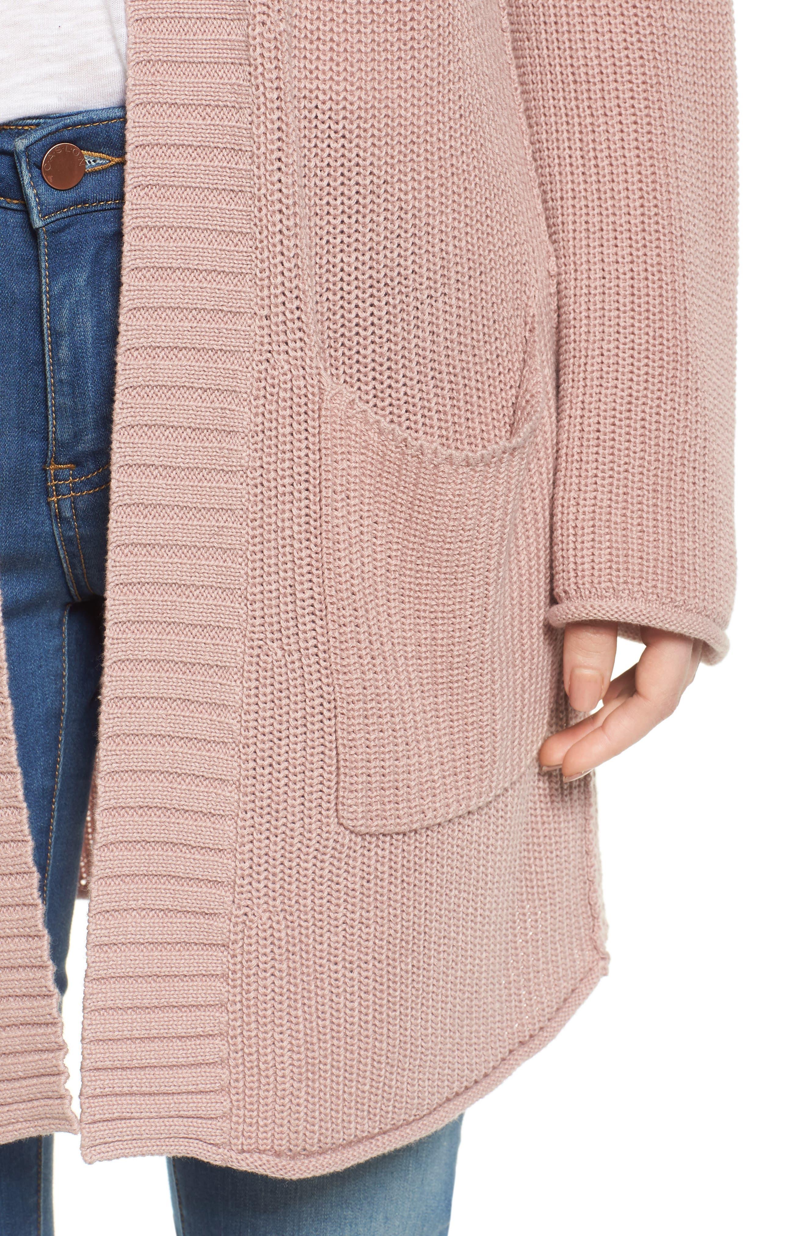 Open Cotton Cardigan,                             Alternate thumbnail 4, color,                             Pink Adobe