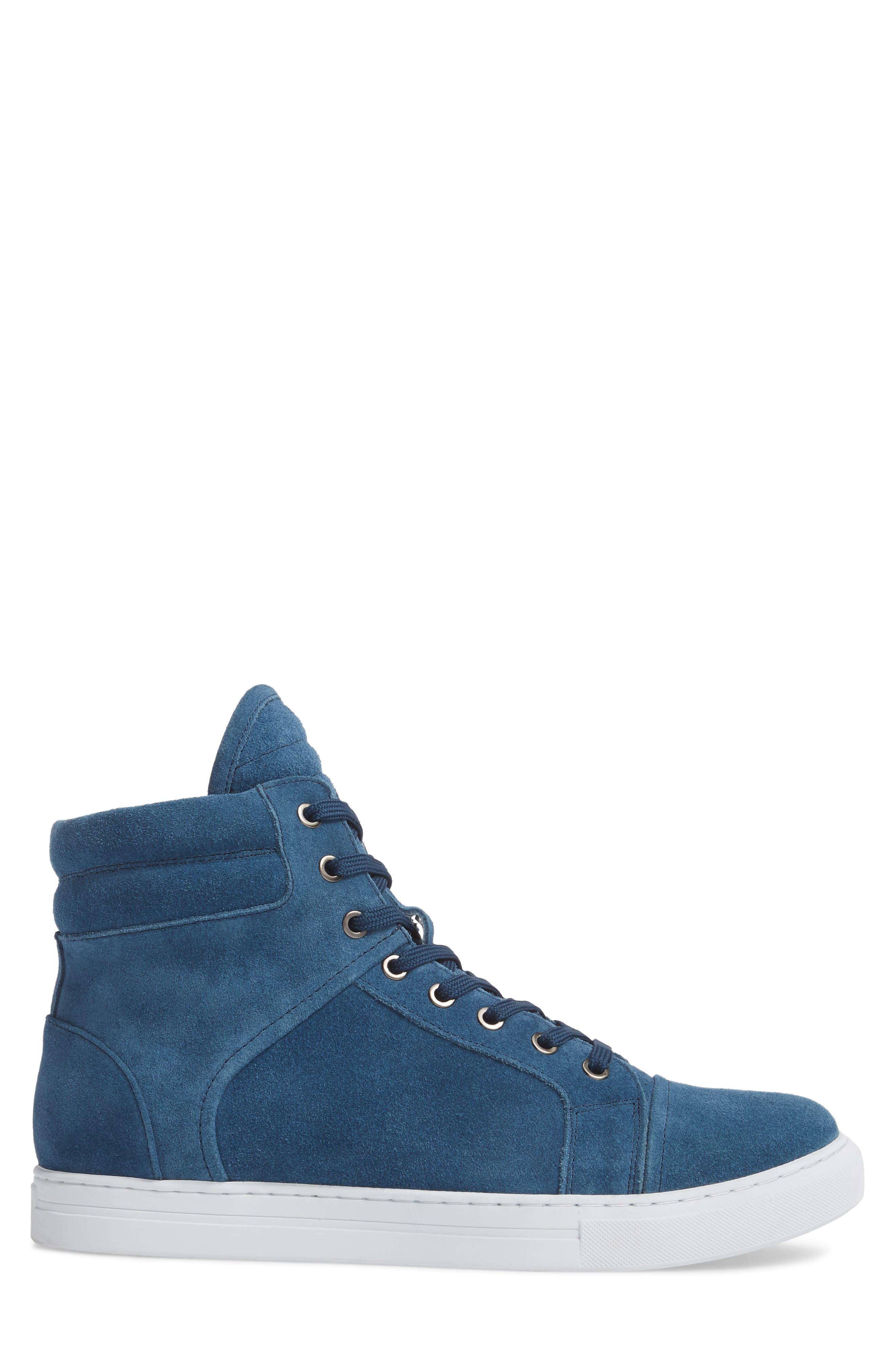 Double Header Sneaker,                             Alternate thumbnail 3, color,                             Blue Suede