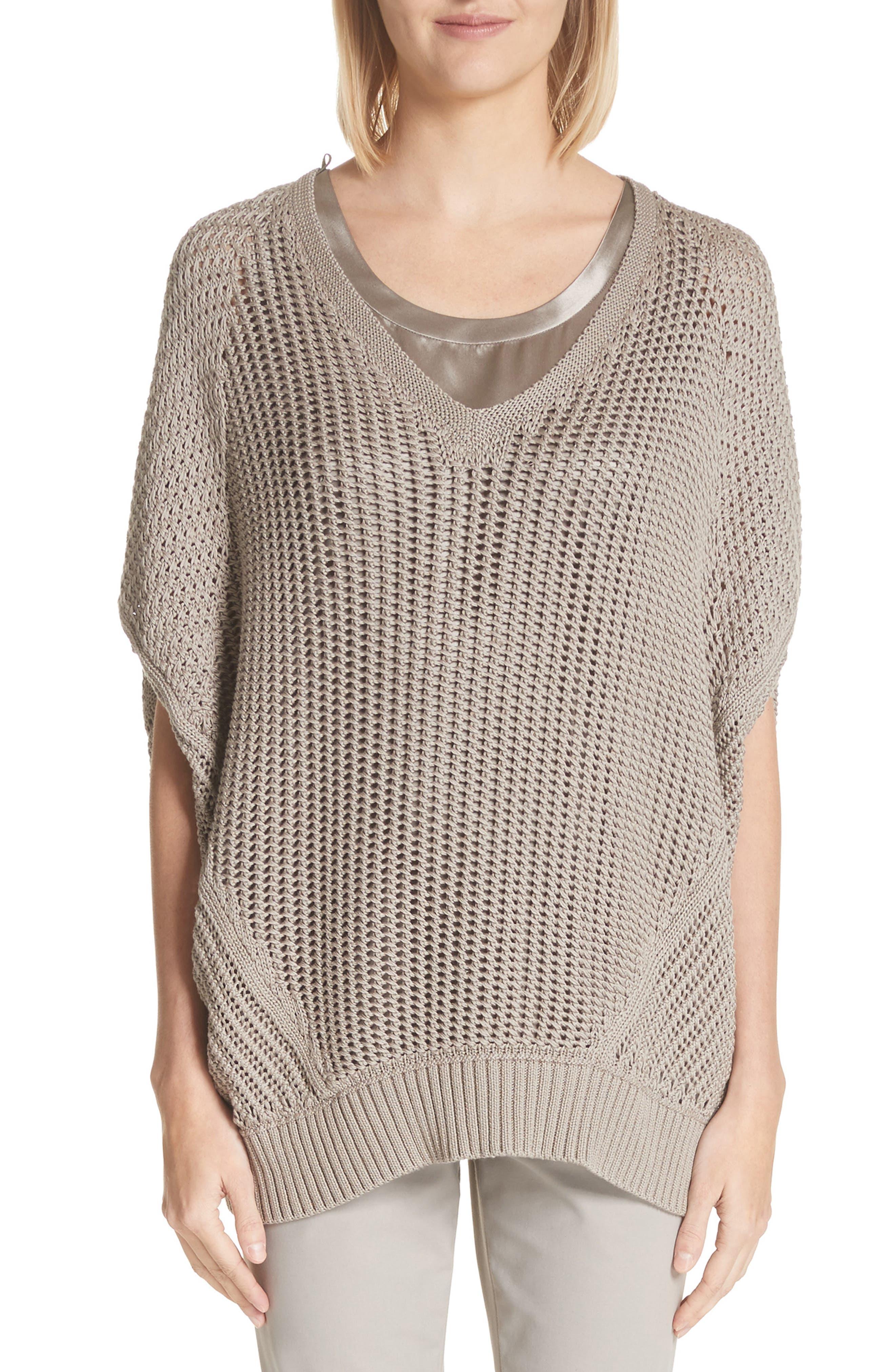 Mixed Stitch Cotton & Silk Sweater,                         Main,                         color, Jute