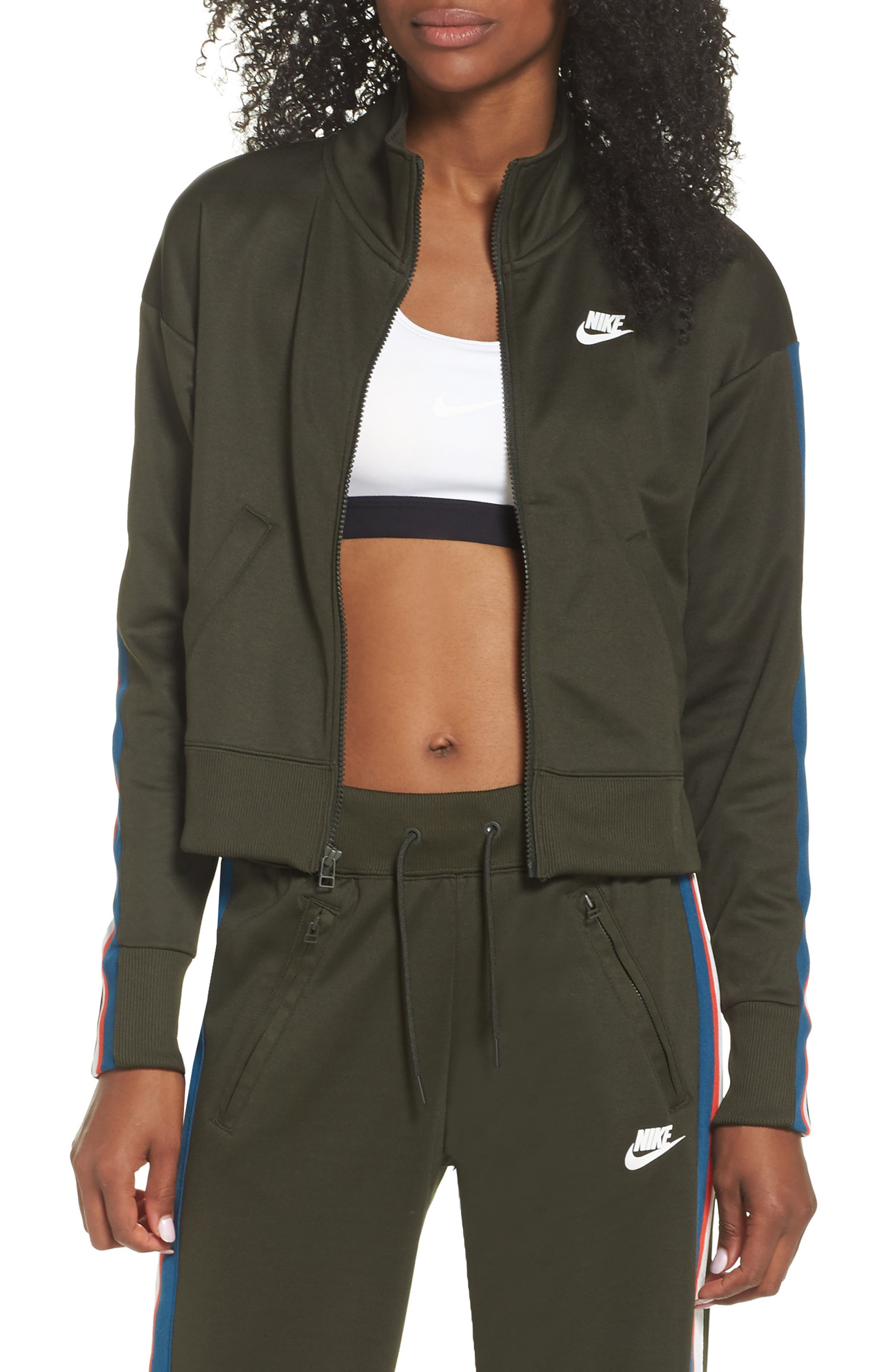 Sportswear Crop Jacket,                         Main,                         color, Sequoia/ Sail