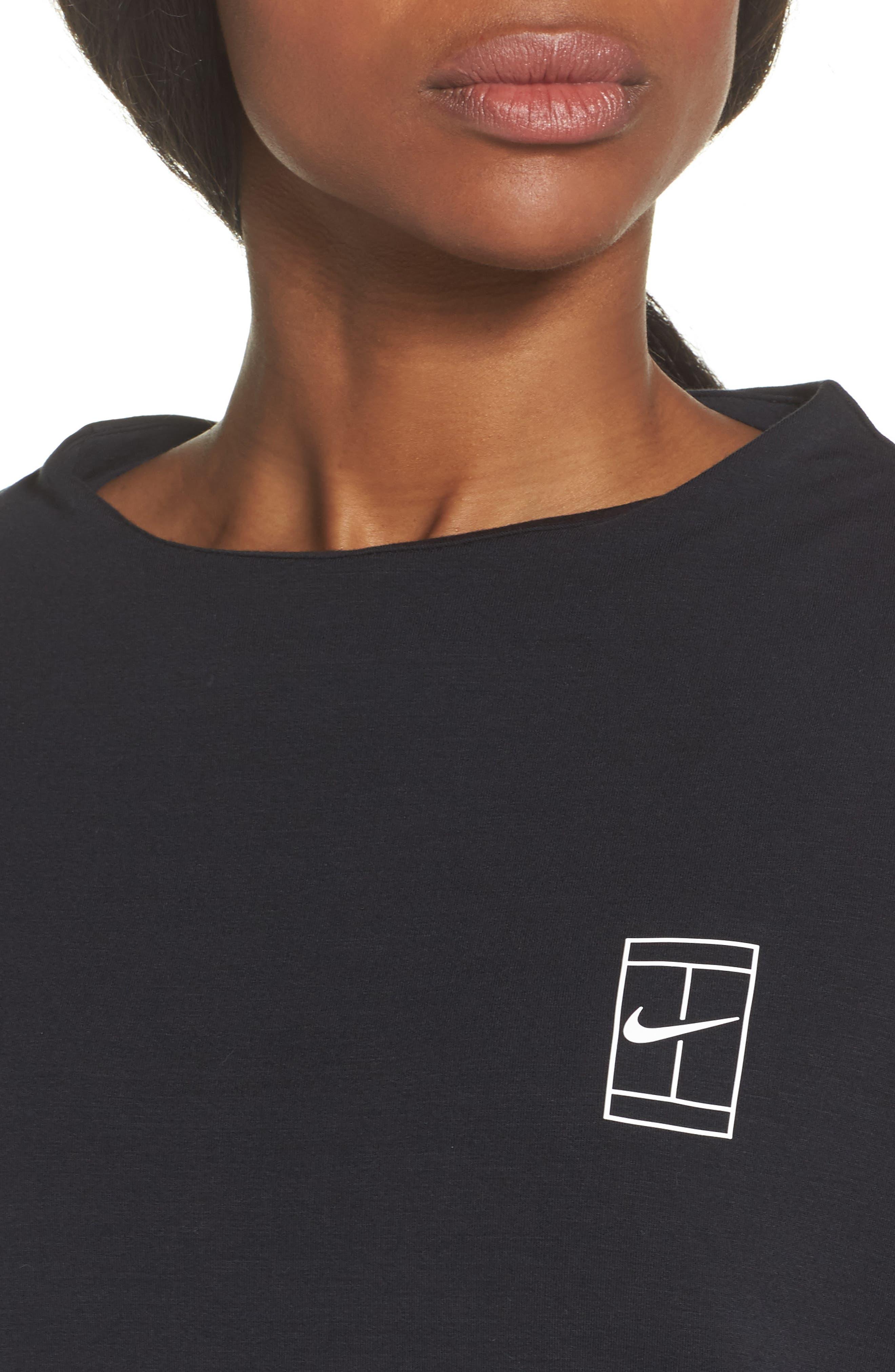 Court Dri-FIT Long Sleeve Tennis Top,                             Alternate thumbnail 4, color,                             Black/ White
