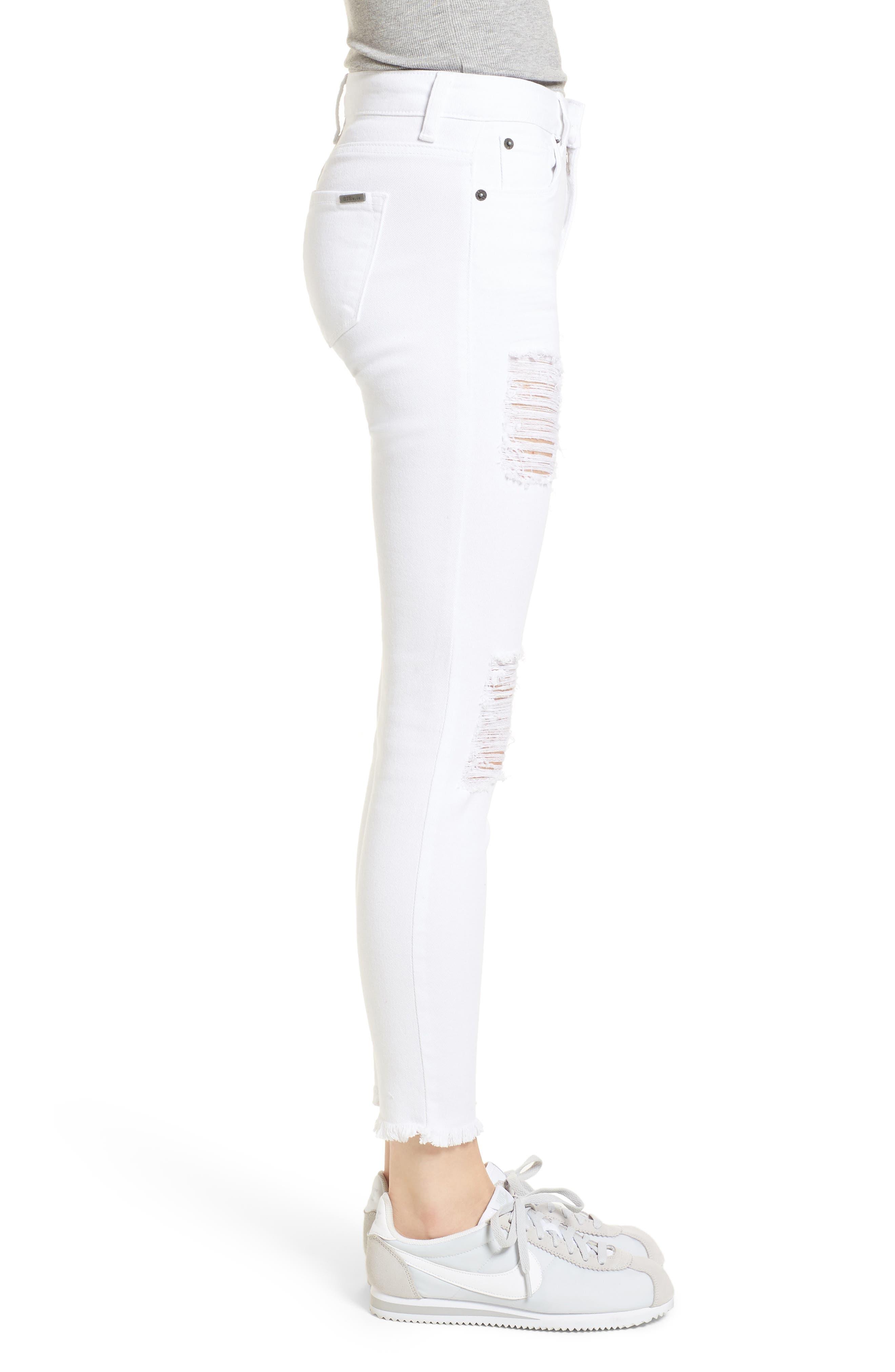 Emma Distressed Skinny Jeans,                             Alternate thumbnail 3, color,                             Optic White