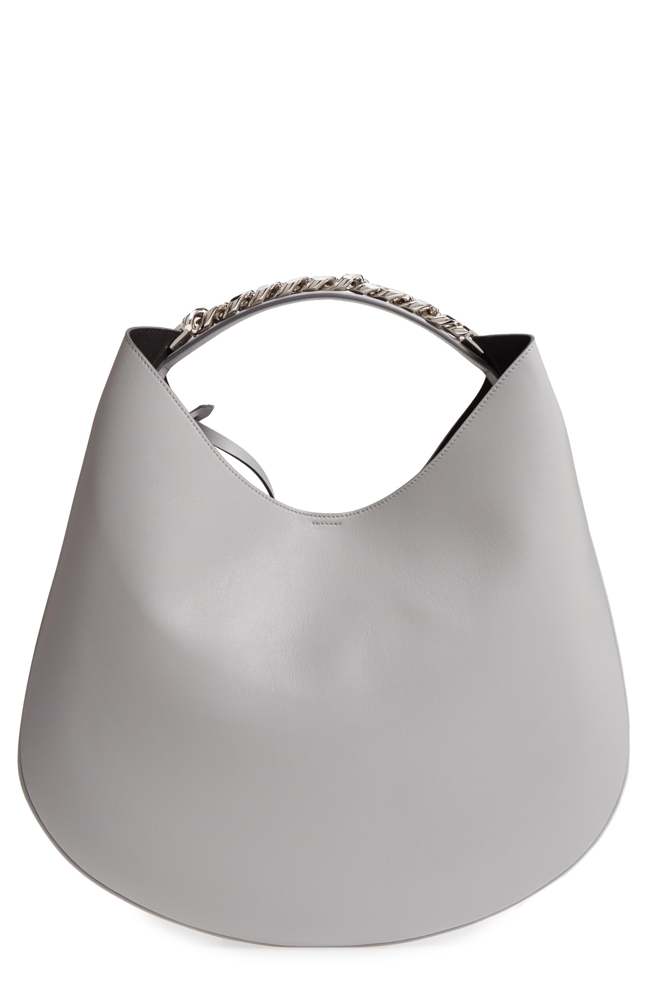 Medium Infinity Calfskin Leather Hobo,                         Main,                         color, Pearl Grey