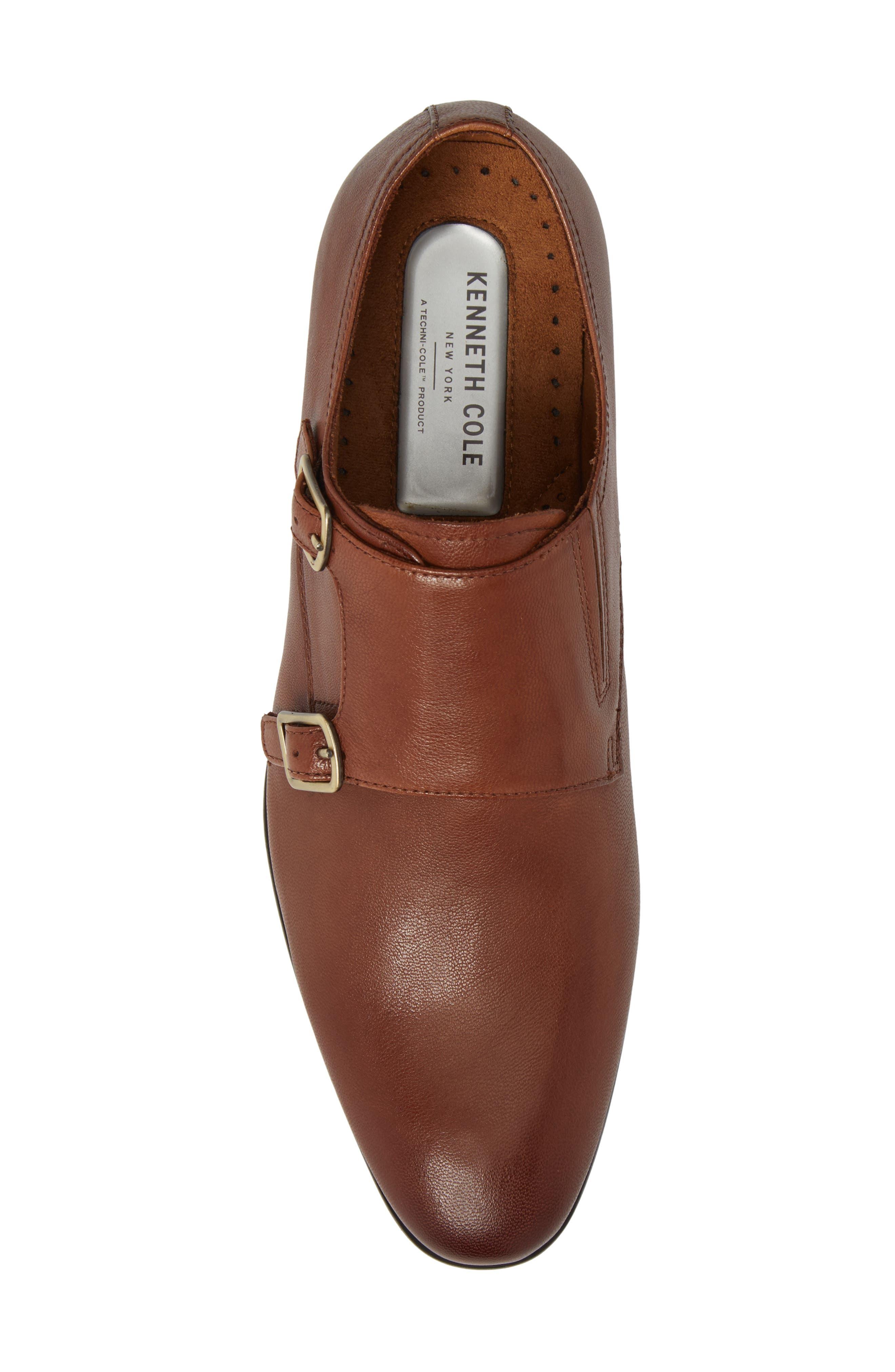 Mix Double Monk Strap Shoe,                             Alternate thumbnail 5, color,                             Cognac Leather