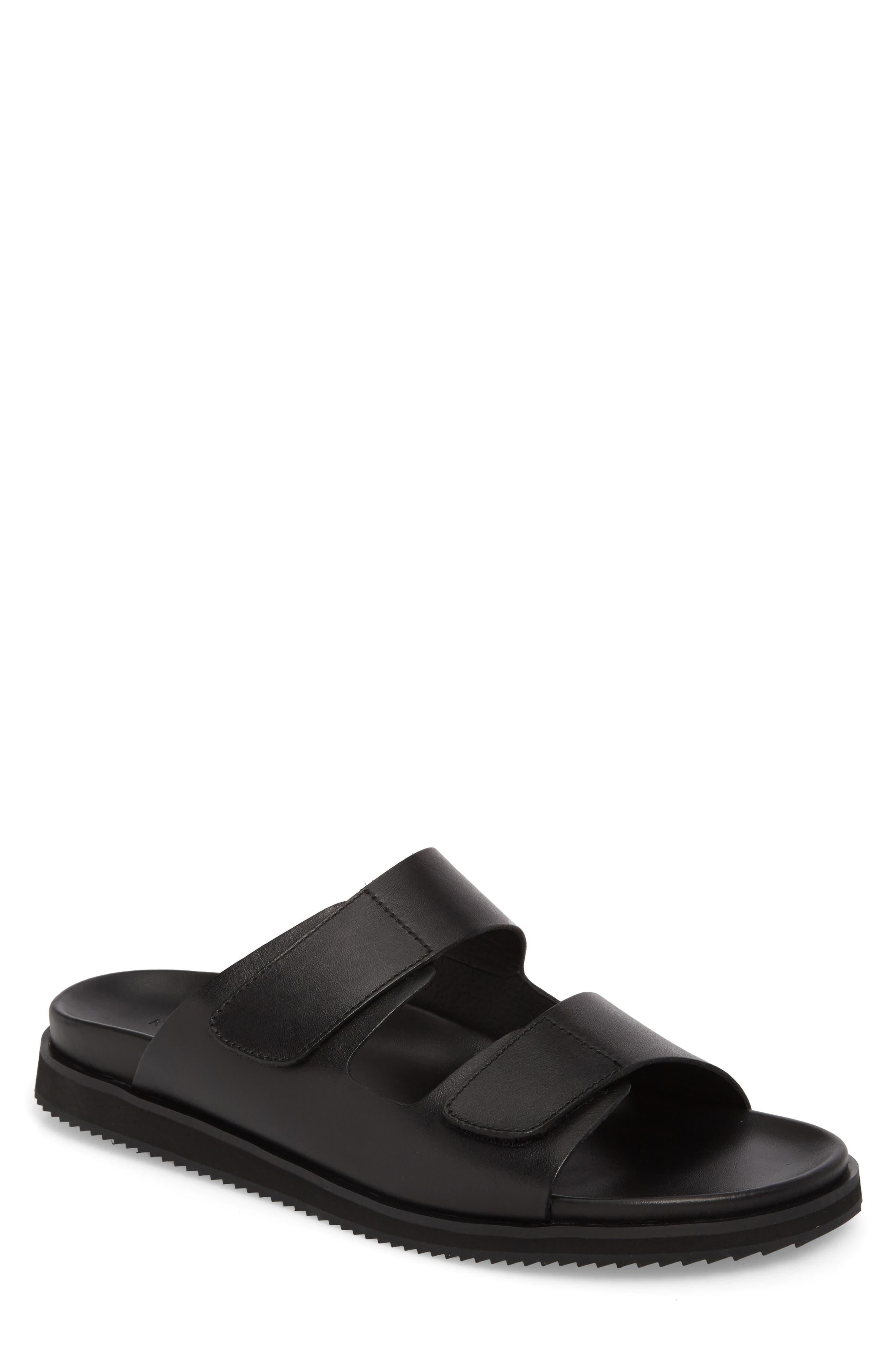 Story Slide Sandal,                             Main thumbnail 1, color,                             Black Leather