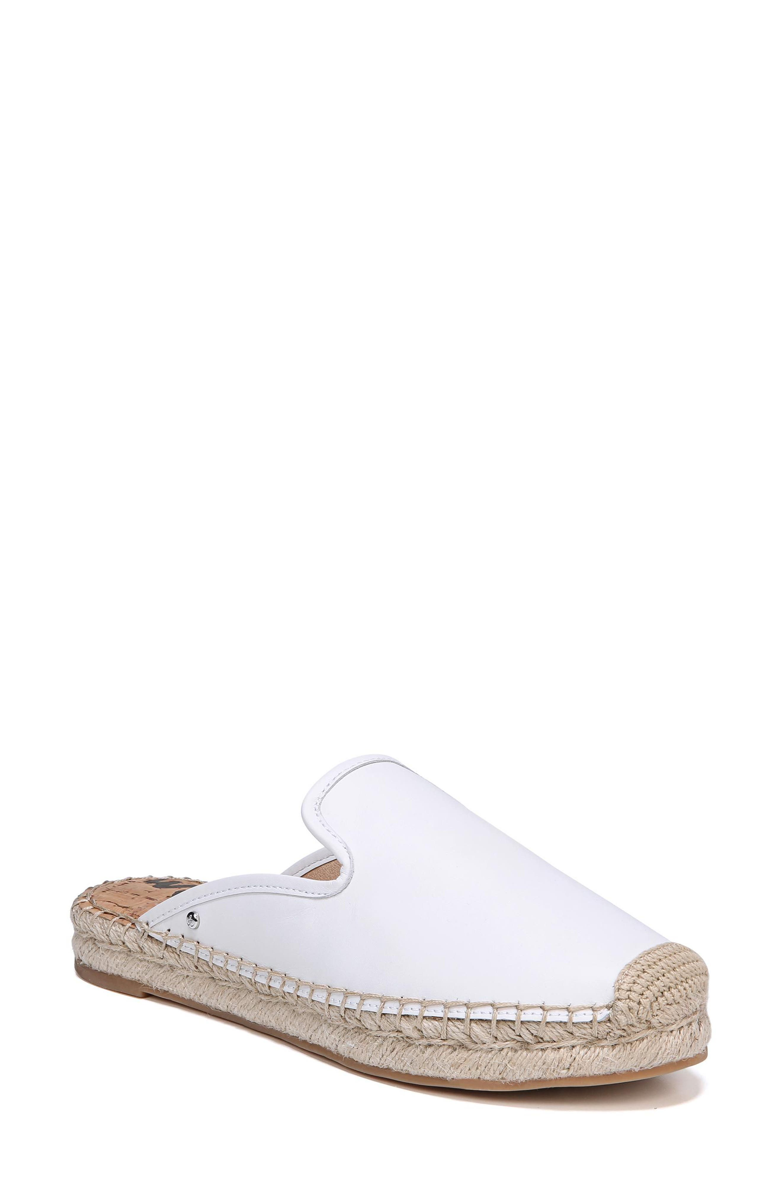 Kerry Espadrille Mule,                             Main thumbnail 1, color,                             Bright White Leather