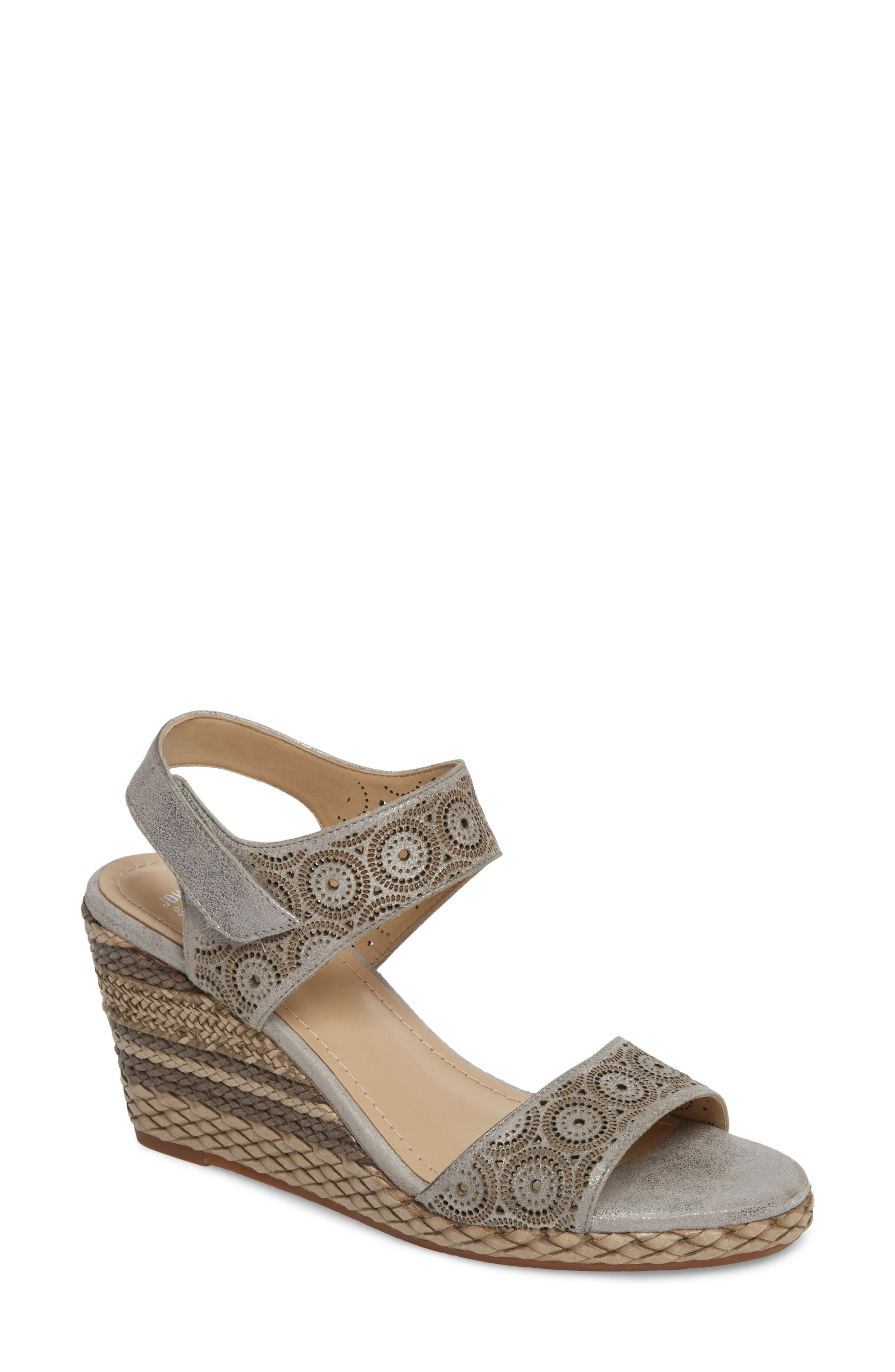 Georgiana Wedge Sandal,                         Main,                         color, Pewter Leather