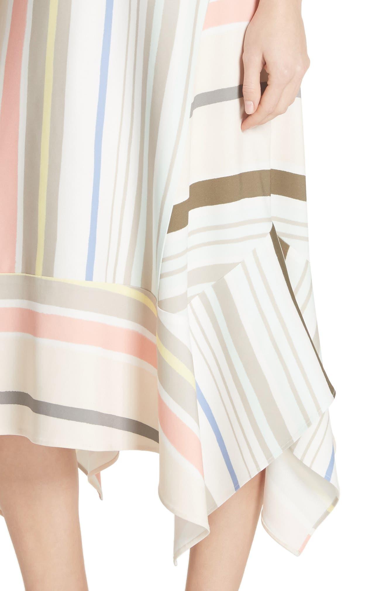 Mesa Stripe Midi Dress,                             Alternate thumbnail 4, color,                             Khaki Multi