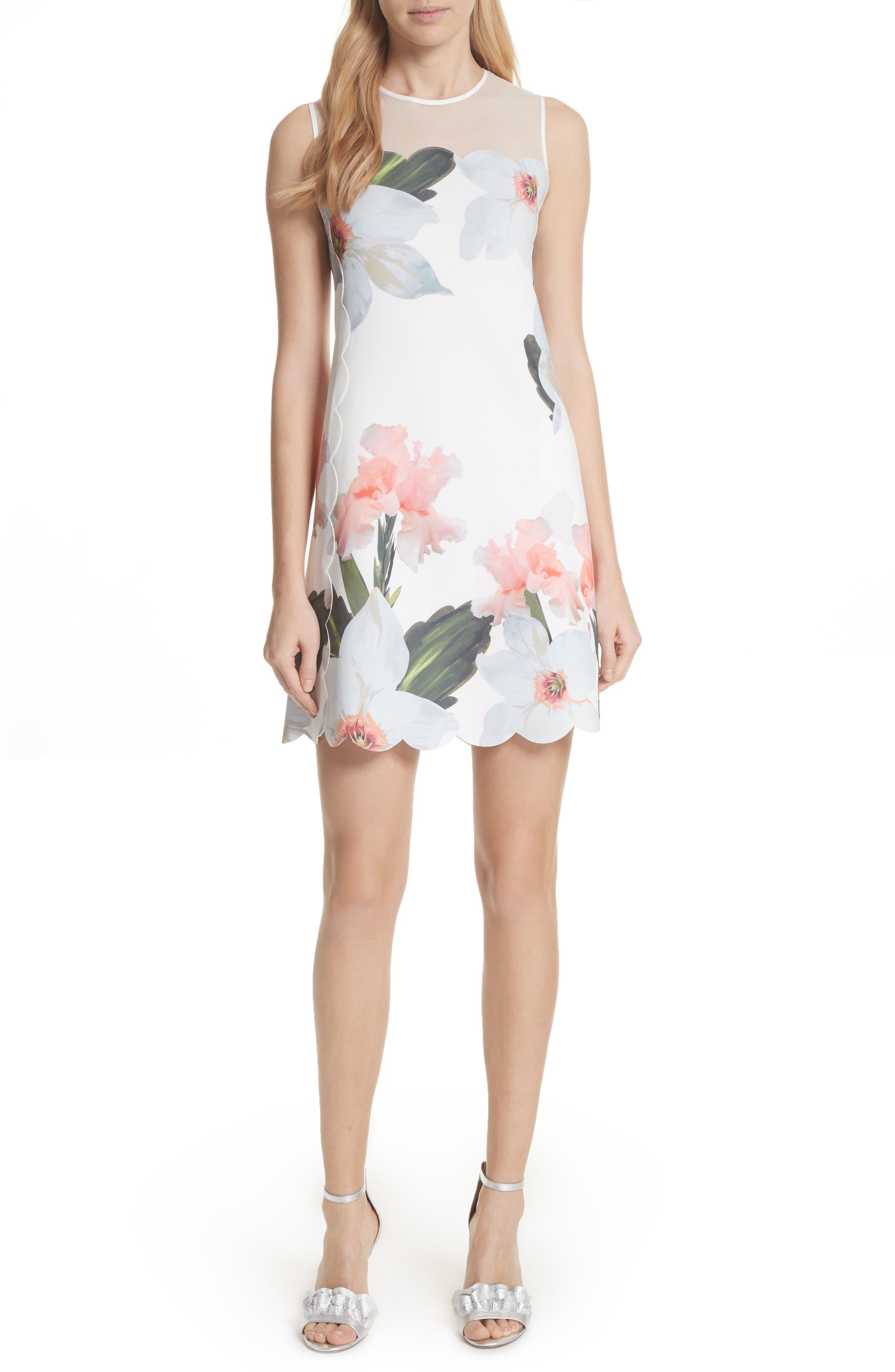 Chatsworth Bloom Tunic Dress,                         Main,                         color, White