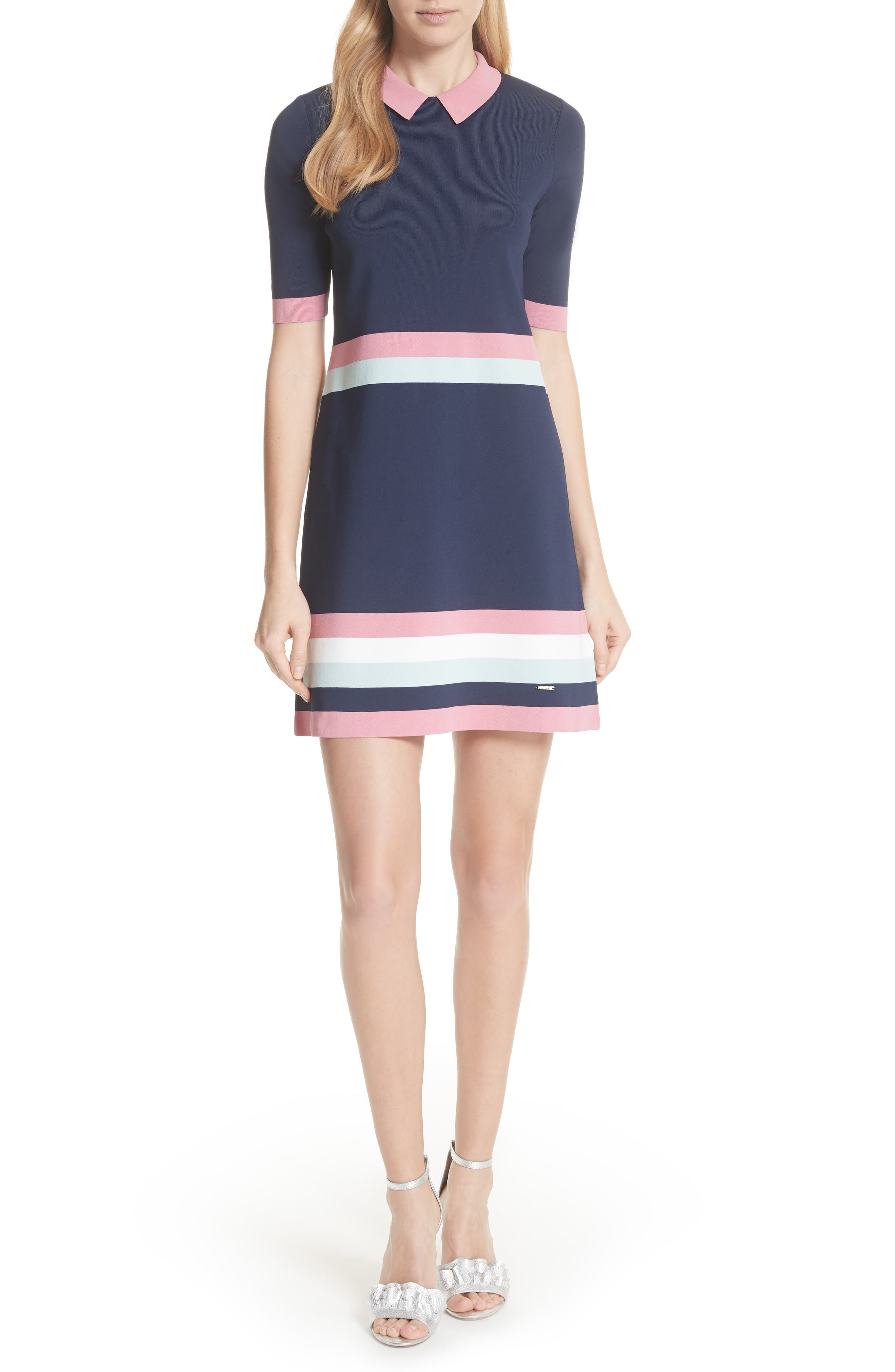 Colour by Numbers Border Stripe Dress,                         Main,                         color, Blue