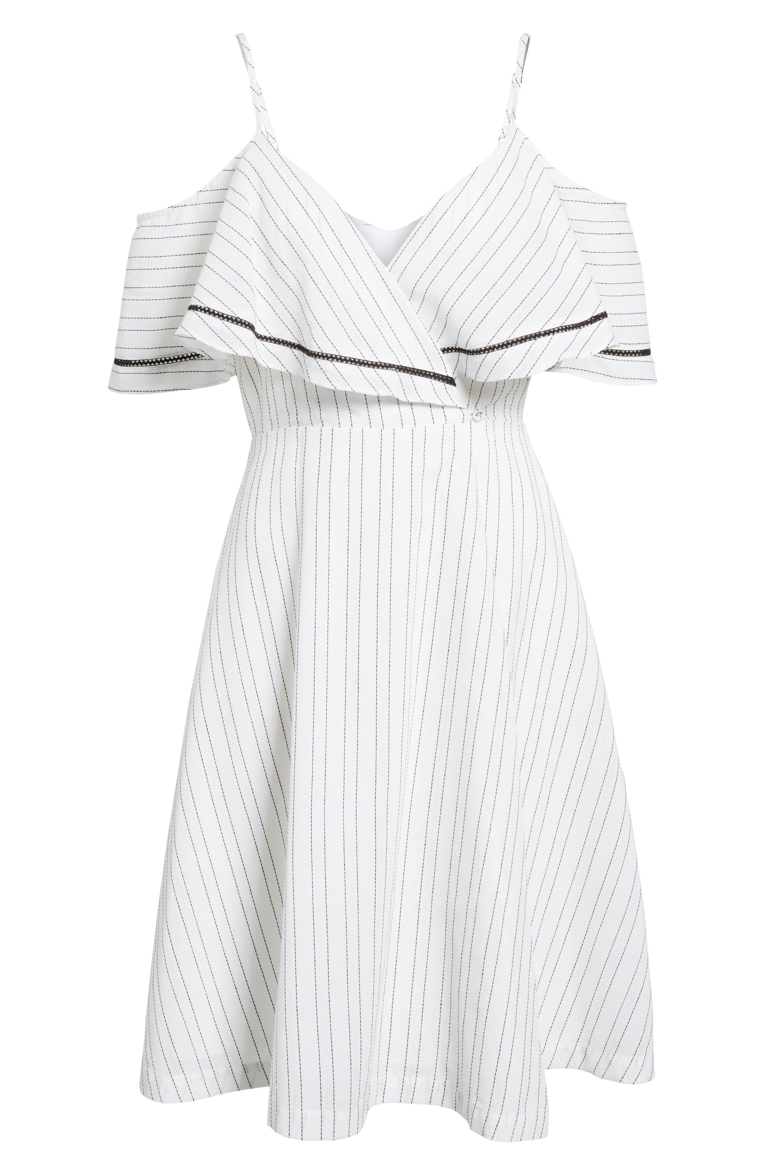 Cold Shoulder Midi Dress,                             Alternate thumbnail 7, color,                             White/ Black