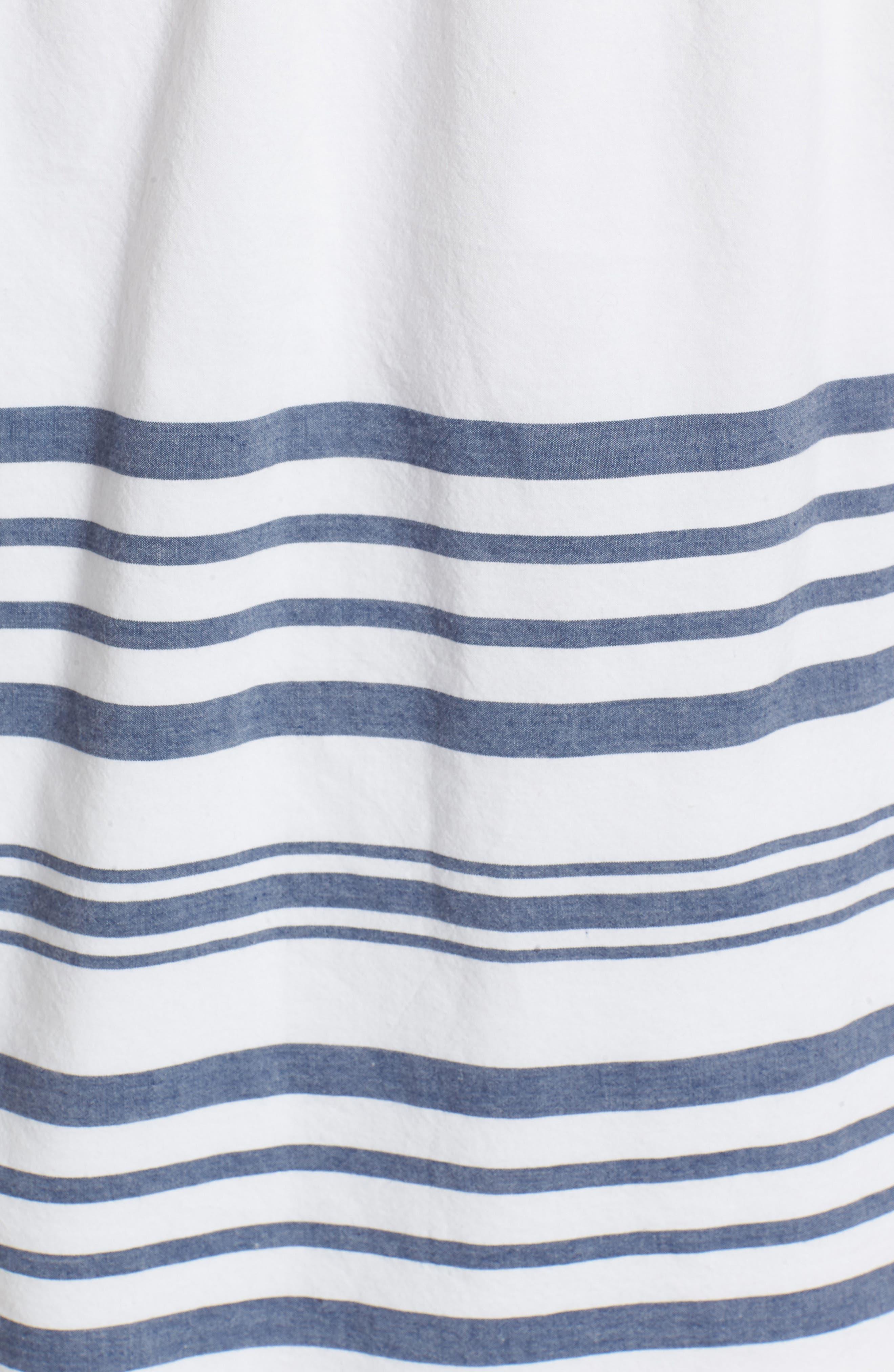 Breaker Stripe Off the Shoulder Cotton Top,                             Alternate thumbnail 5, color,                             White Cap