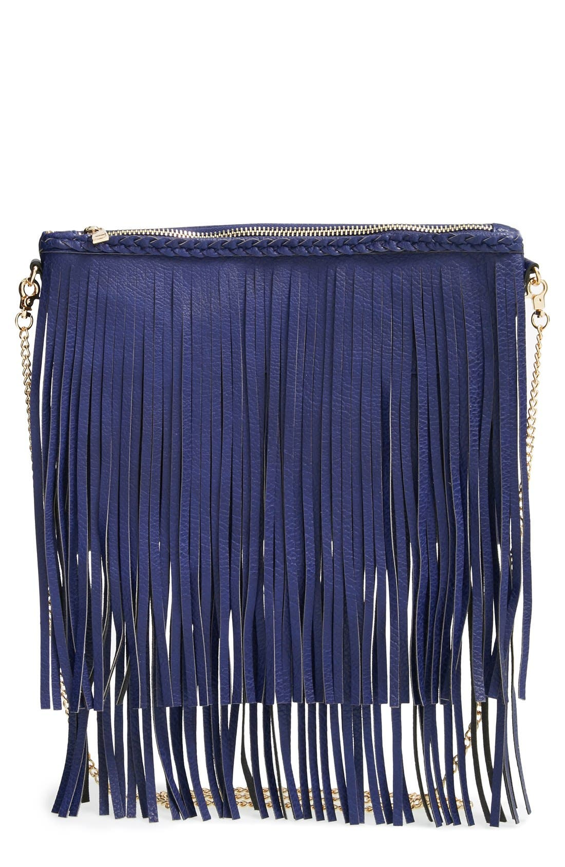 Main Image - Sole Society 'Rose' Fringe Faux Leather Convertible Crossbody Bag