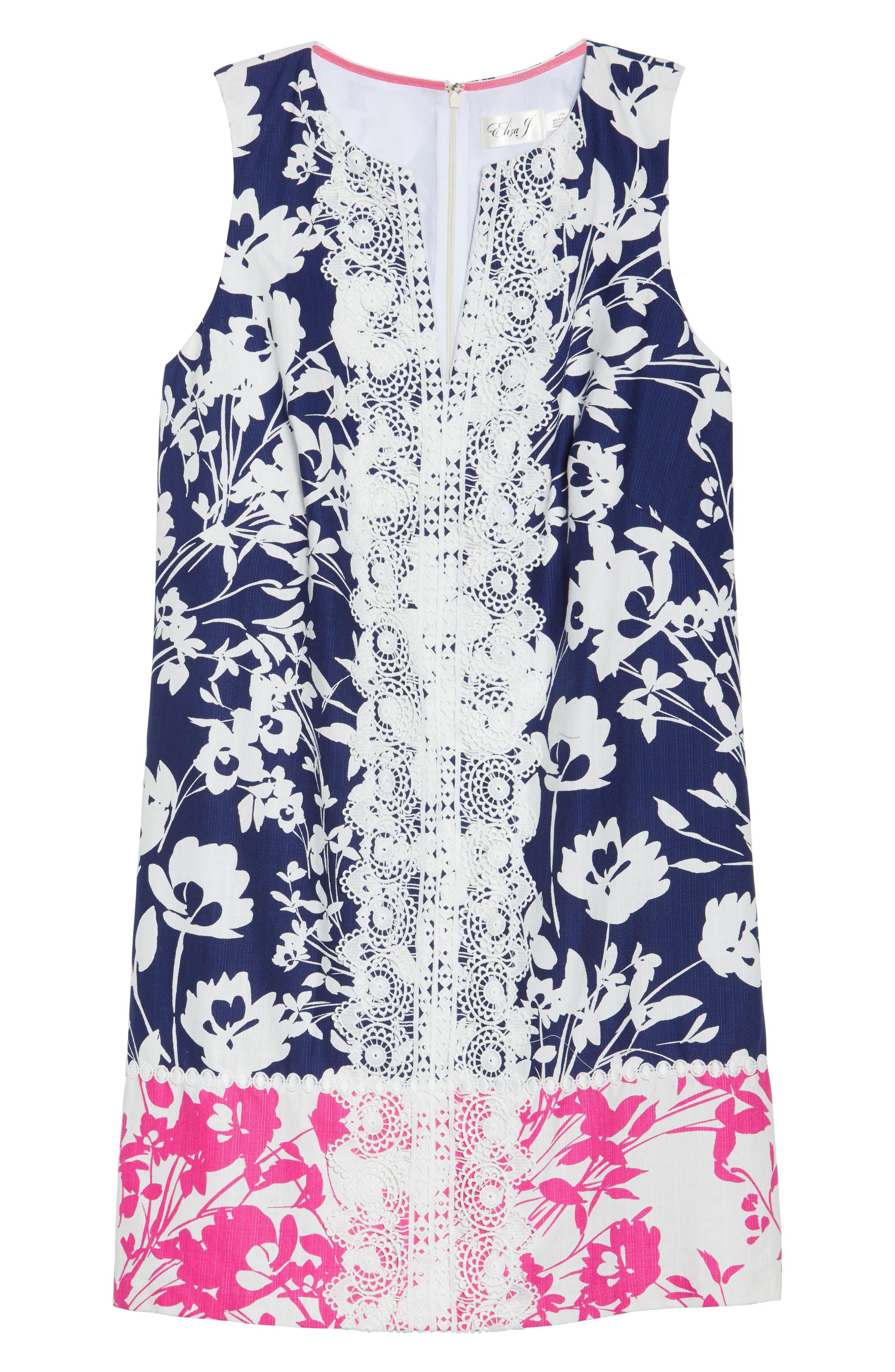 Lace Trim Two Tone Print Shift Dress,                             Alternate thumbnail 6, color,                             Navy/ Pink