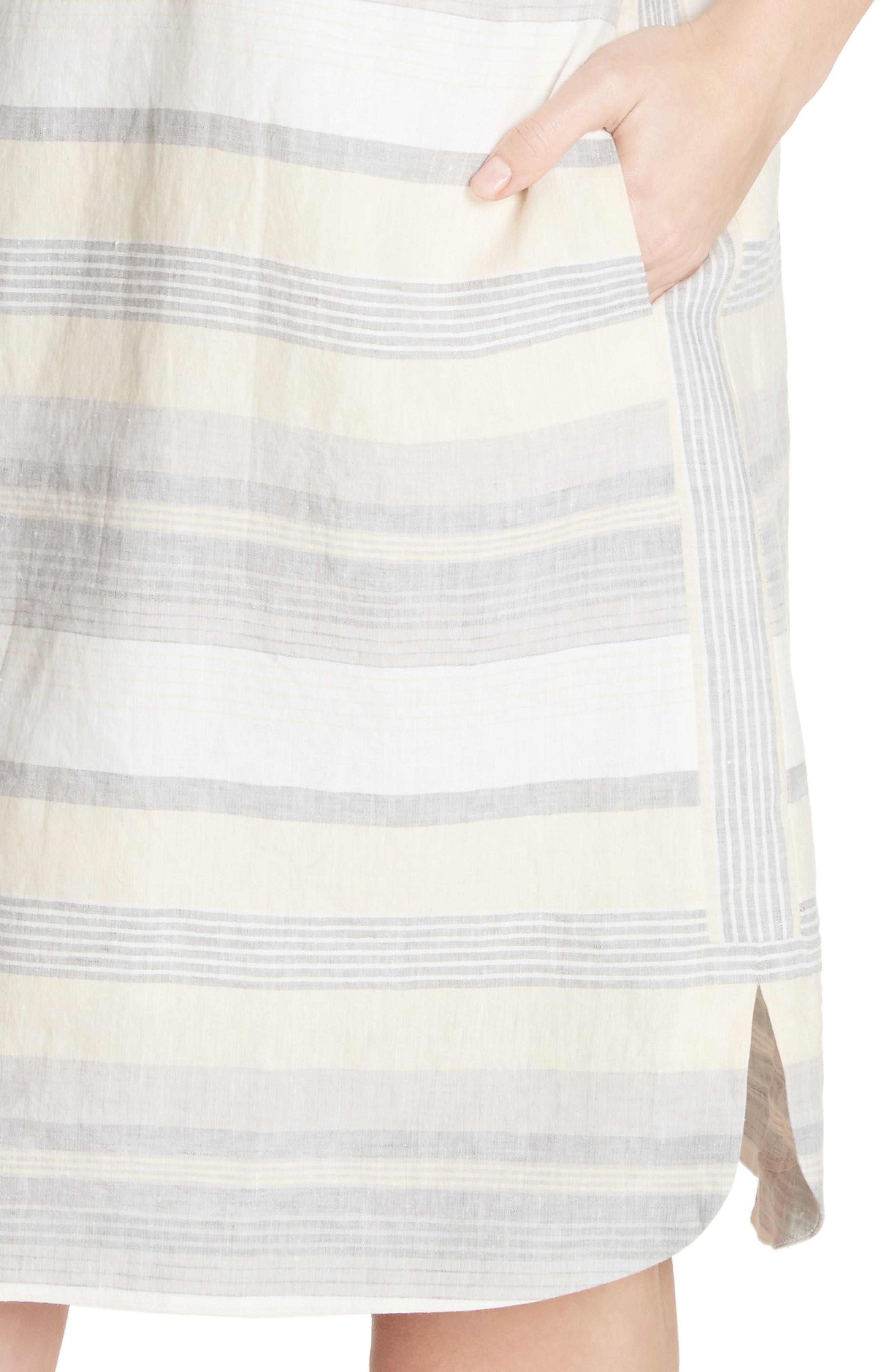Lydia Stripe Linen Dress,                             Alternate thumbnail 4, color,                             Chickpea Multi