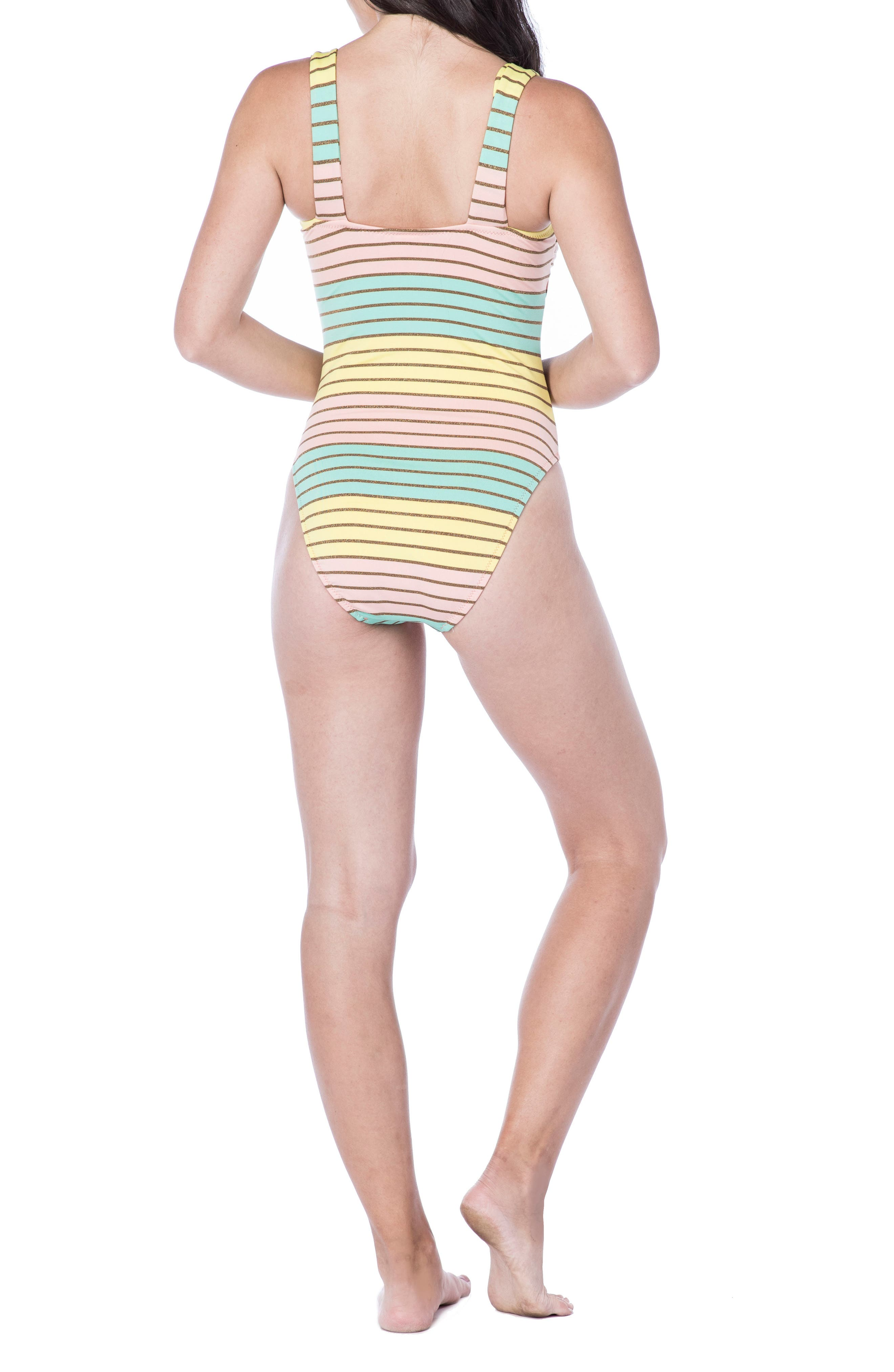 Metallic Stripe One-Piece Swimsuit,                             Alternate thumbnail 2, color,                             Multi-Colored