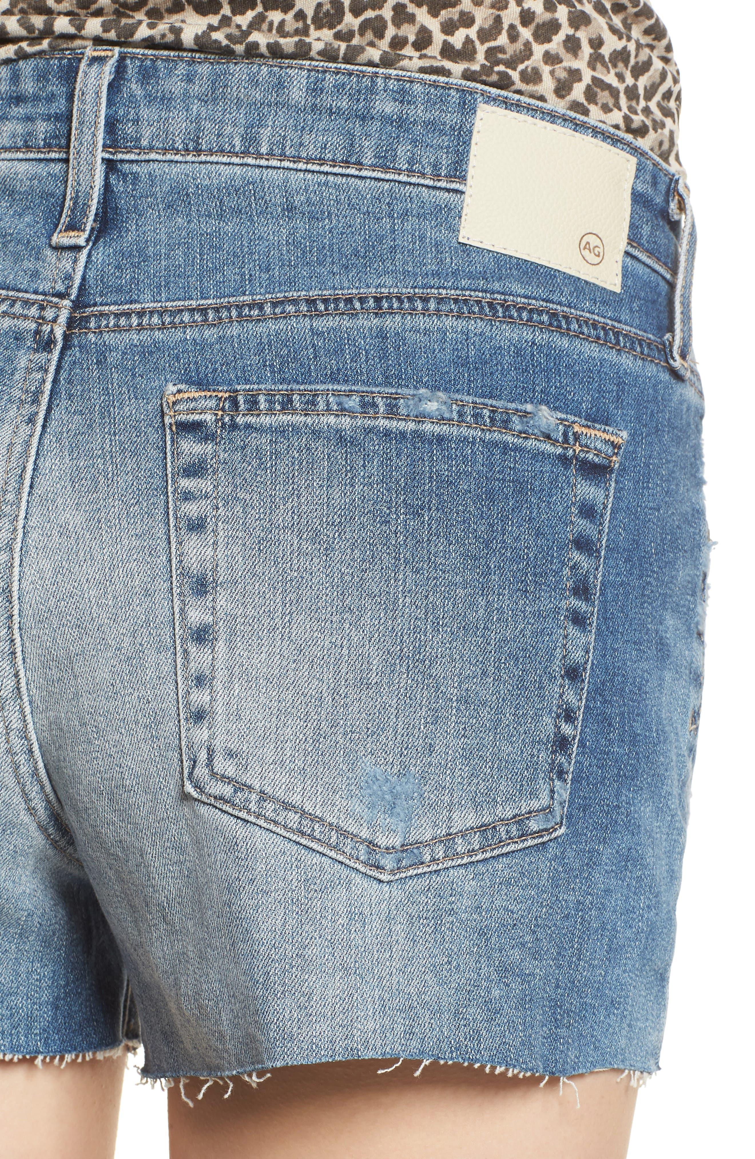The Bryn High Waist Cutoff Denim Shorts,                             Alternate thumbnail 4, color,                             Indigo Deluge Destructed