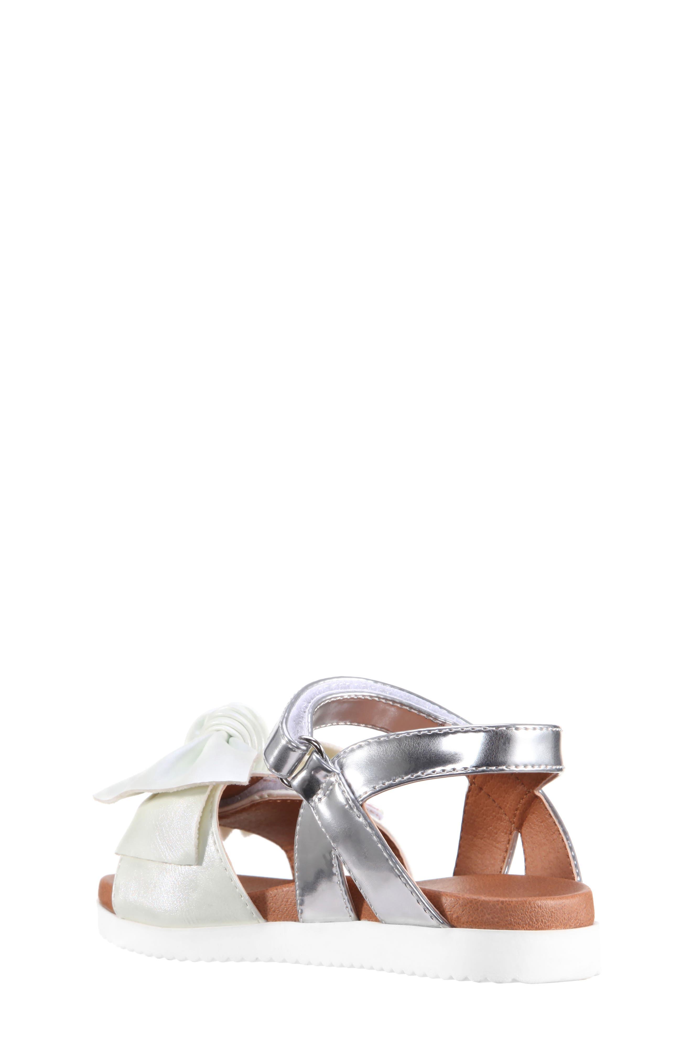 Kaitylyn Bow Sandal,                             Alternate thumbnail 2, color,                             White Metallic/ Silver